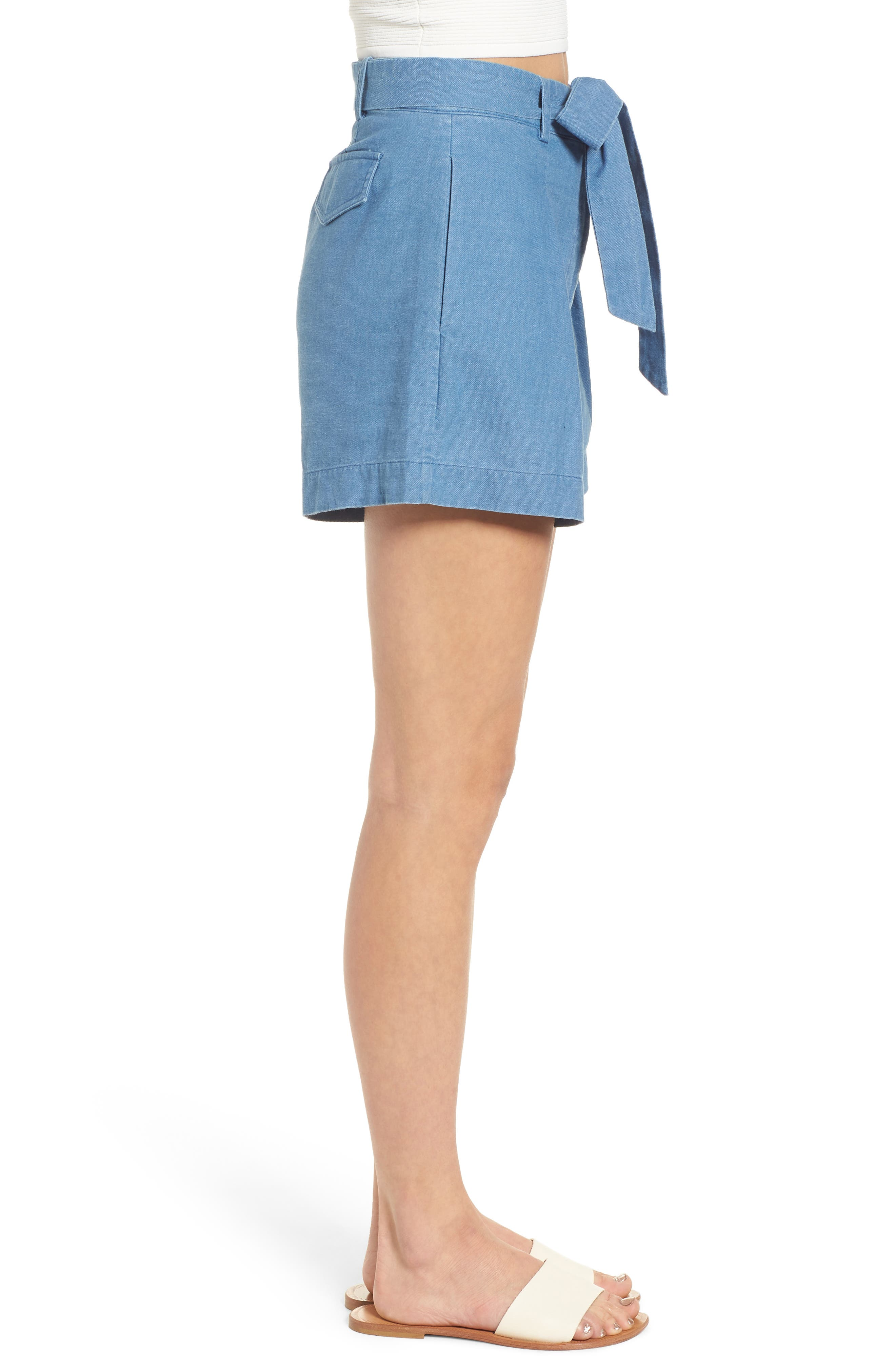Tie Front Chambray Shorts,                             Alternate thumbnail 3, color,                             400