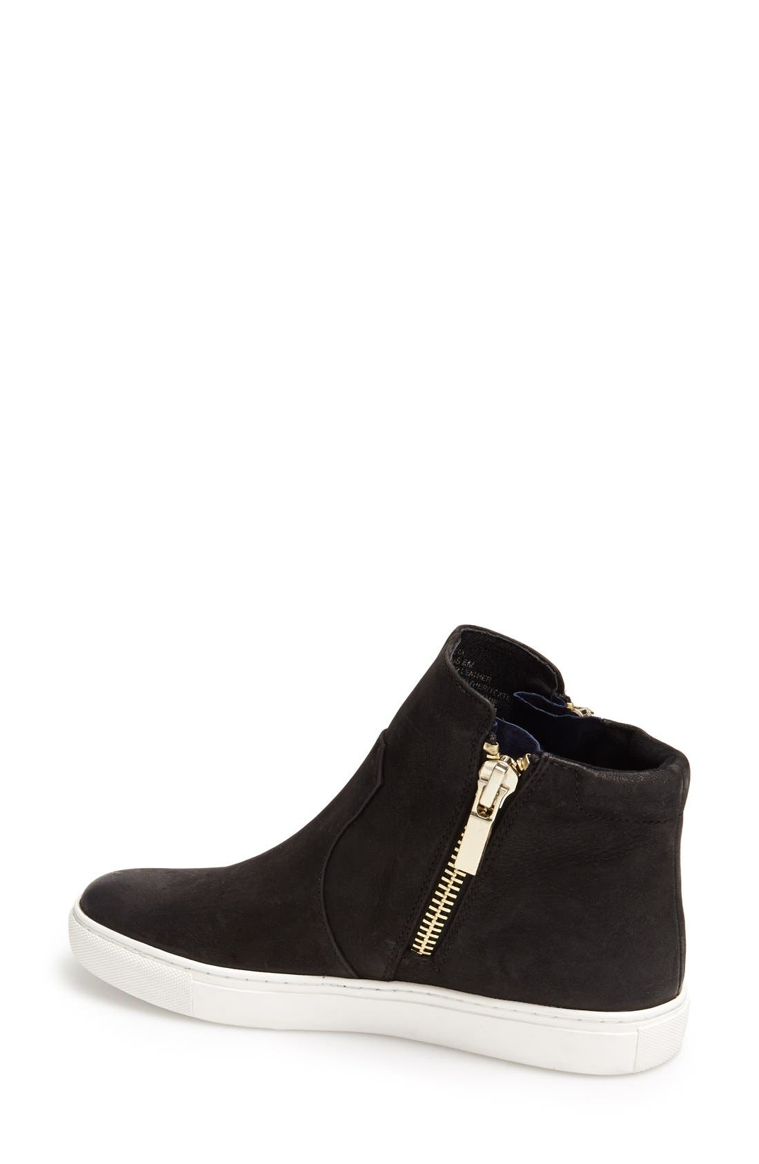 'Kiera' Zip High Top Sneaker,                             Alternate thumbnail 3, color,                             BLACK LEATHER