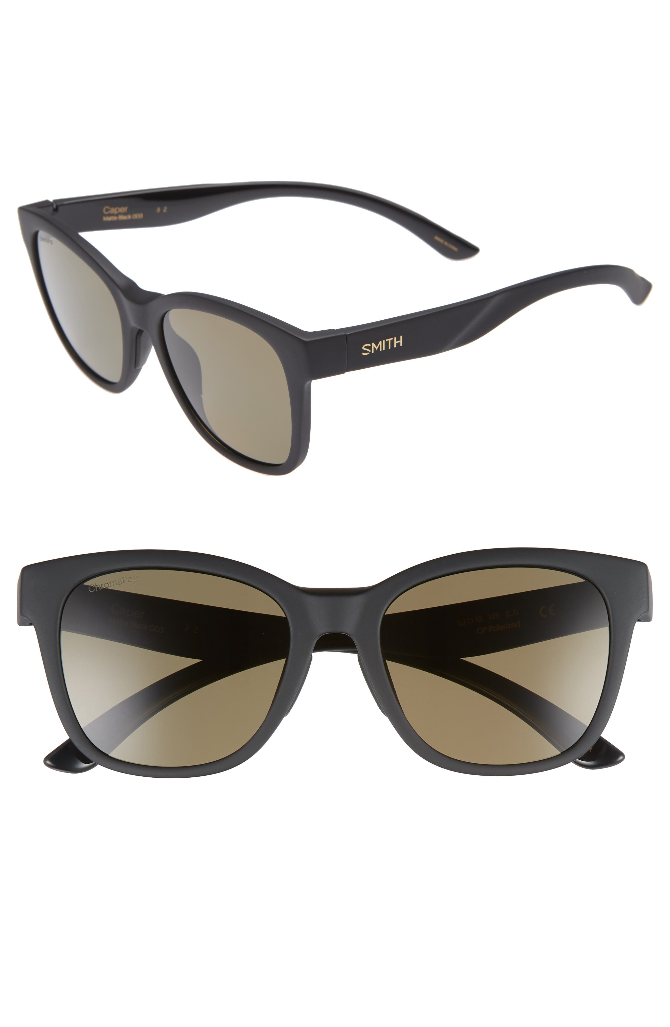 SMITH,                             Caper 53mm ChromaPop<sup>™</sup> Square Sunglasses,                             Main thumbnail 1, color,                             MATTE BLACK