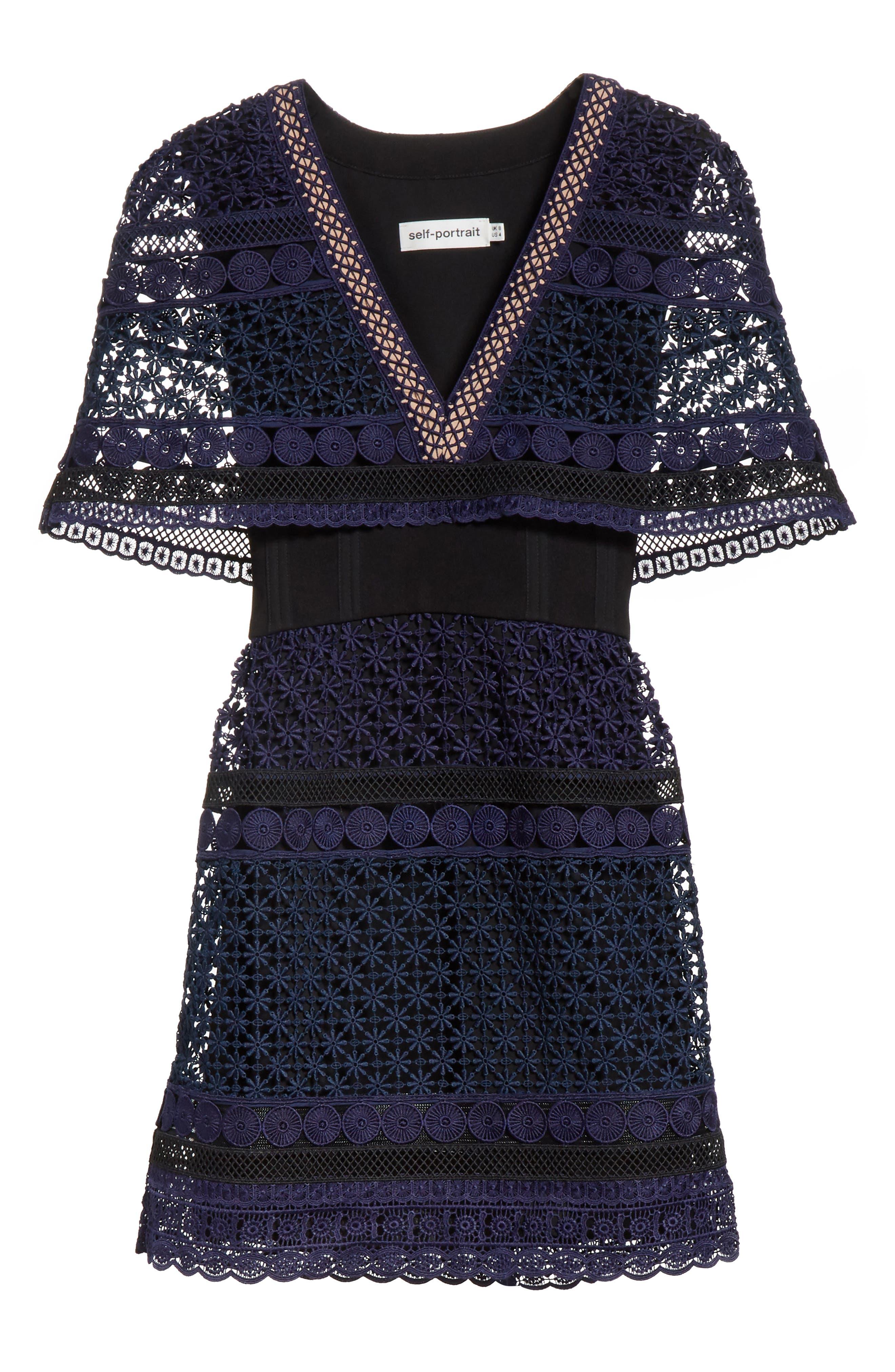 Guipure Lace Cape Dress,                             Alternate thumbnail 6, color,                             400