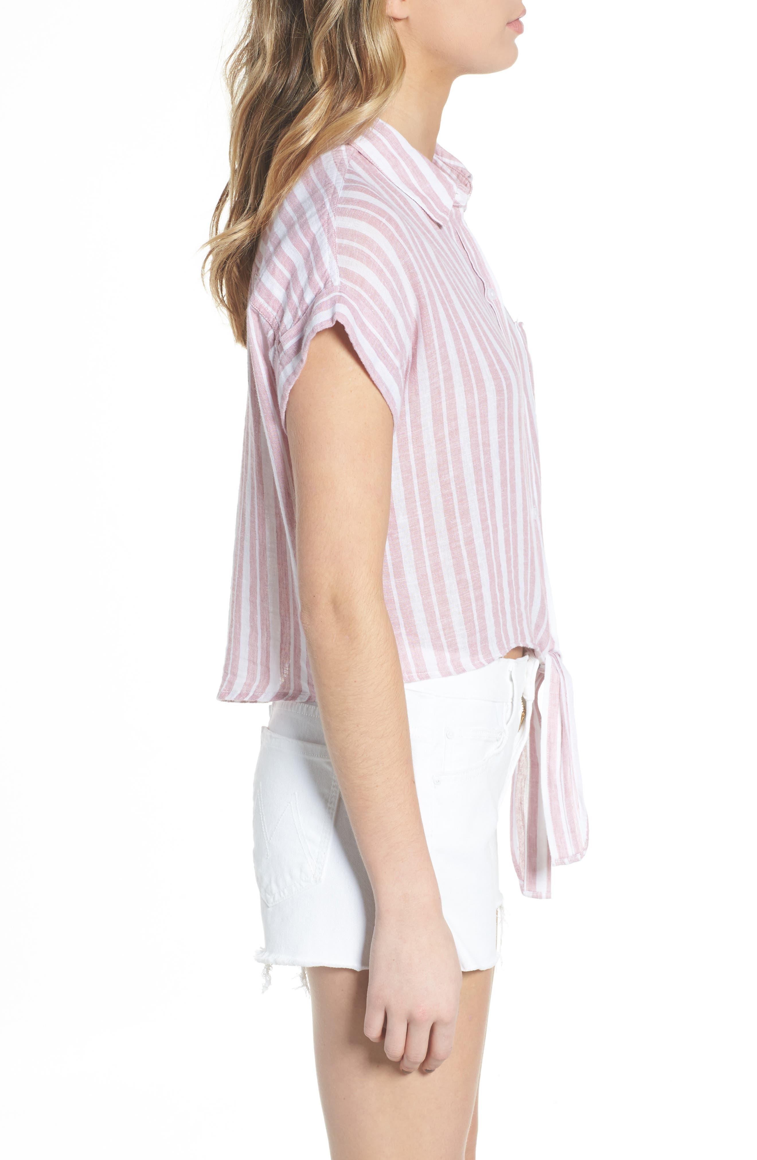Amelie Tie Front Shirt,                             Alternate thumbnail 3, color,                             BORDEAUX STRIPE