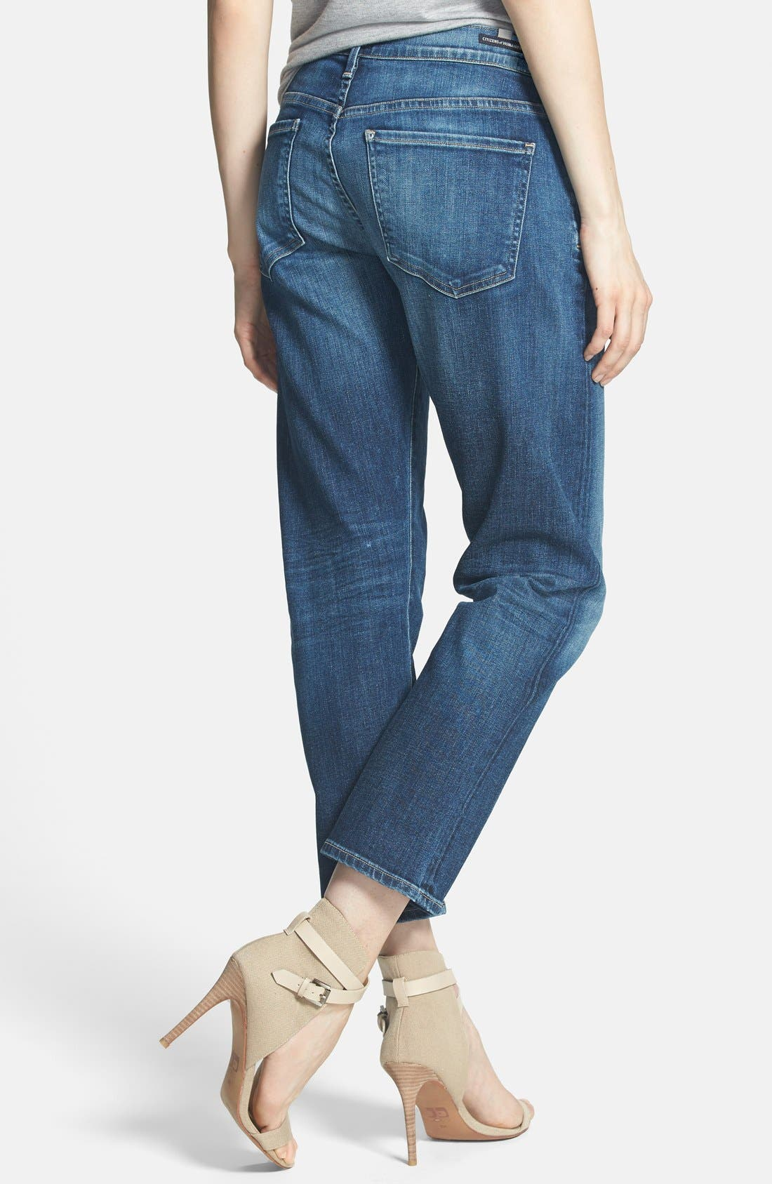 Emerson Slim Boyfriend Jeans,                             Alternate thumbnail 4, color,                             BLUE RIDGE