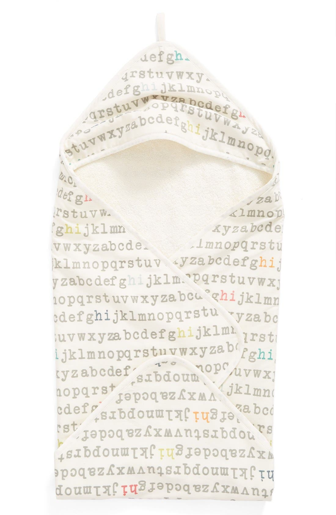 'Alphabet' Print Hooded Towel,                             Main thumbnail 1, color,