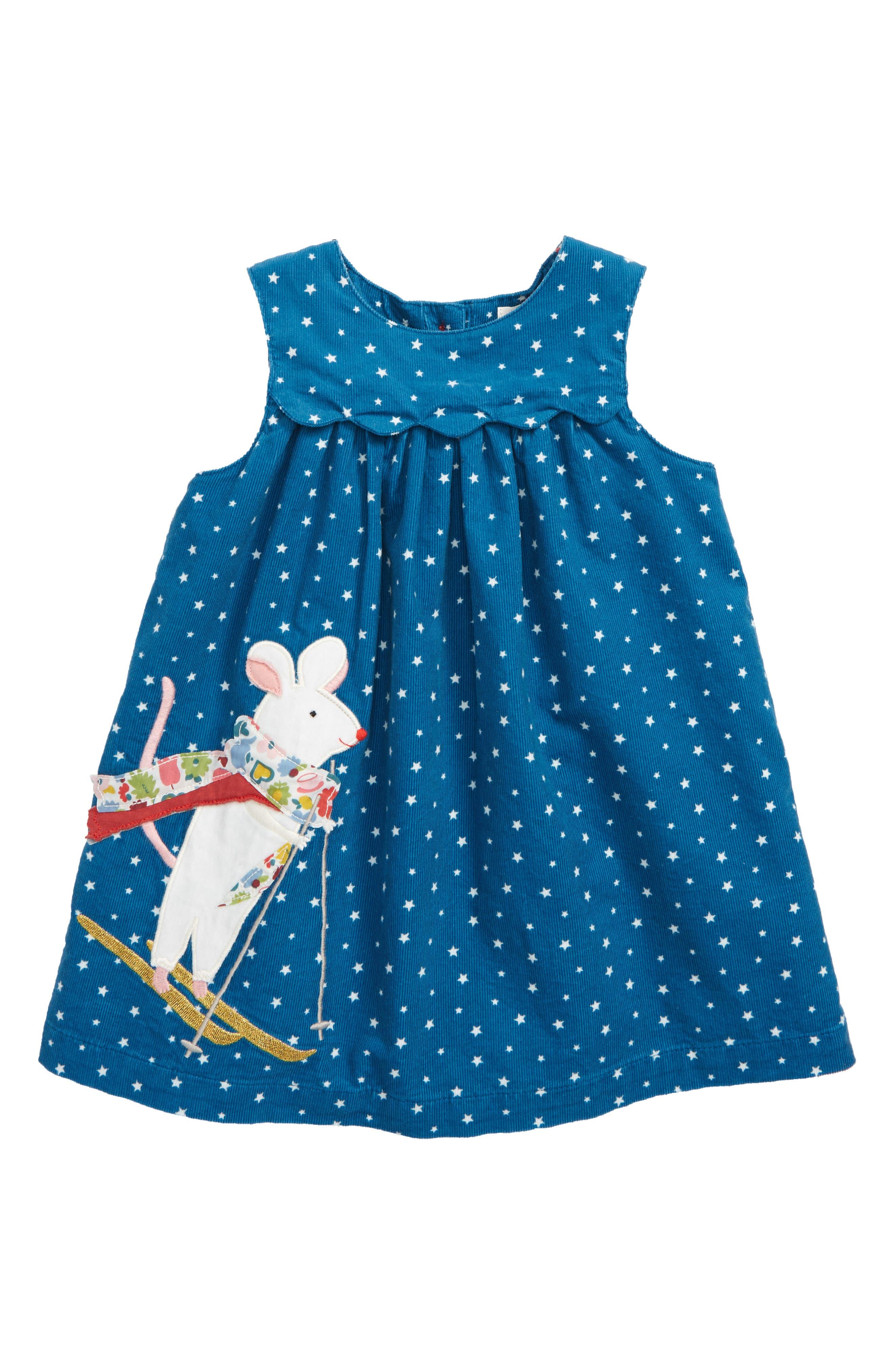 Appliqué Friends Corduroy Dress,                             Main thumbnail 1, color,                             400
