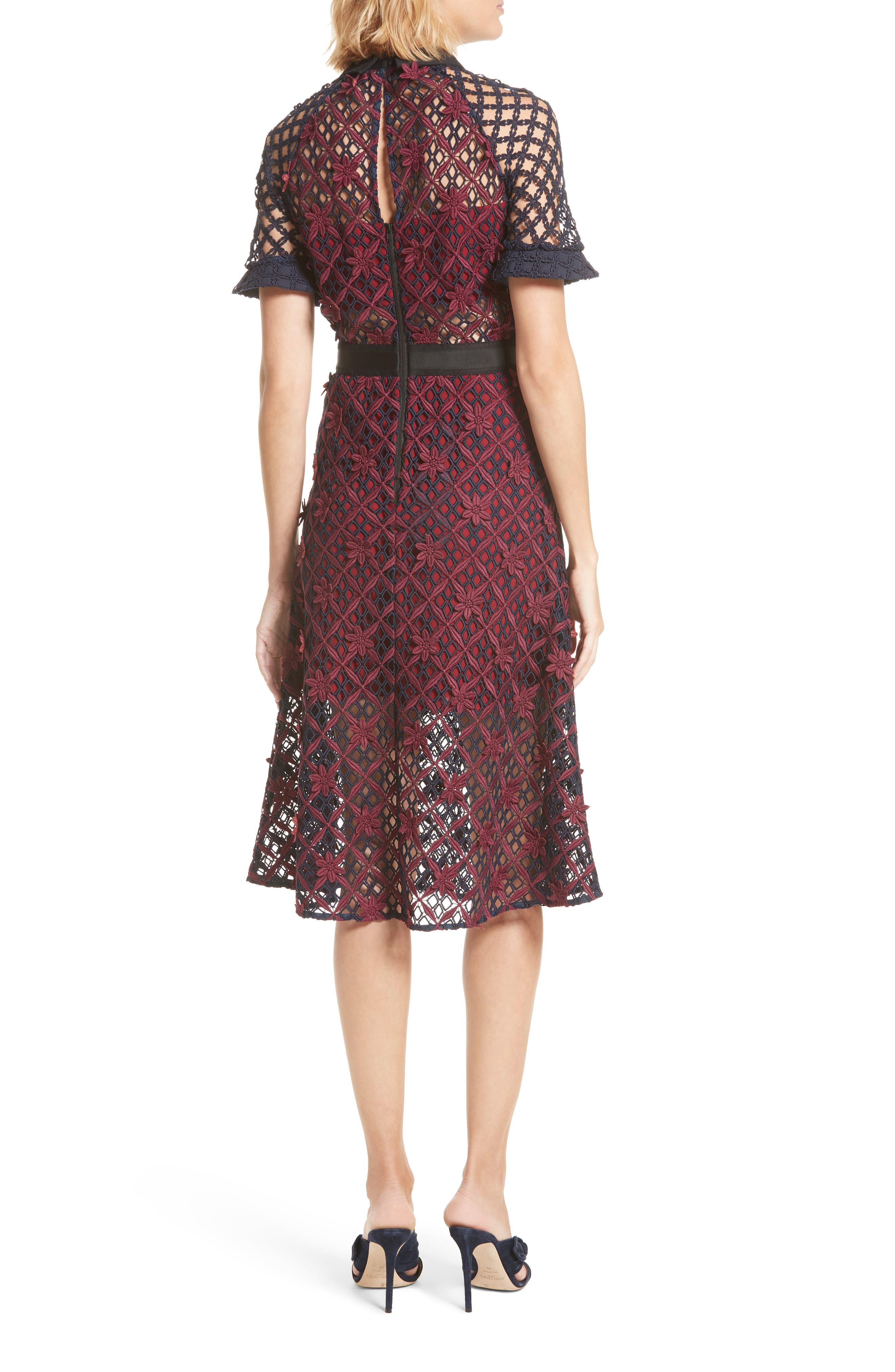 Floral Grid Midi Dress,                             Alternate thumbnail 2, color,                             640