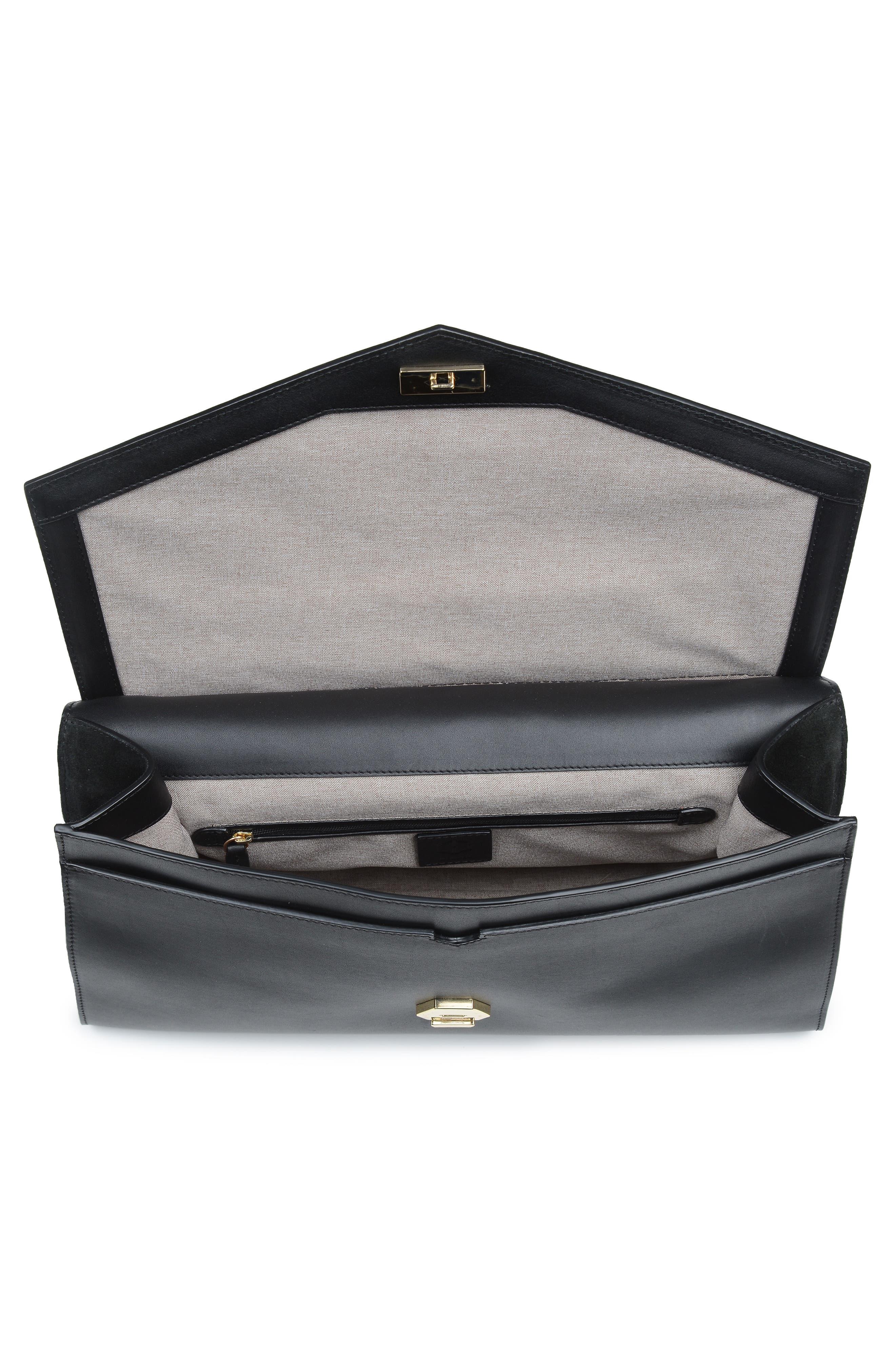 Wayfare Calfskin Leather Top Handle Satchel,                             Alternate thumbnail 3, color,                             BLACK