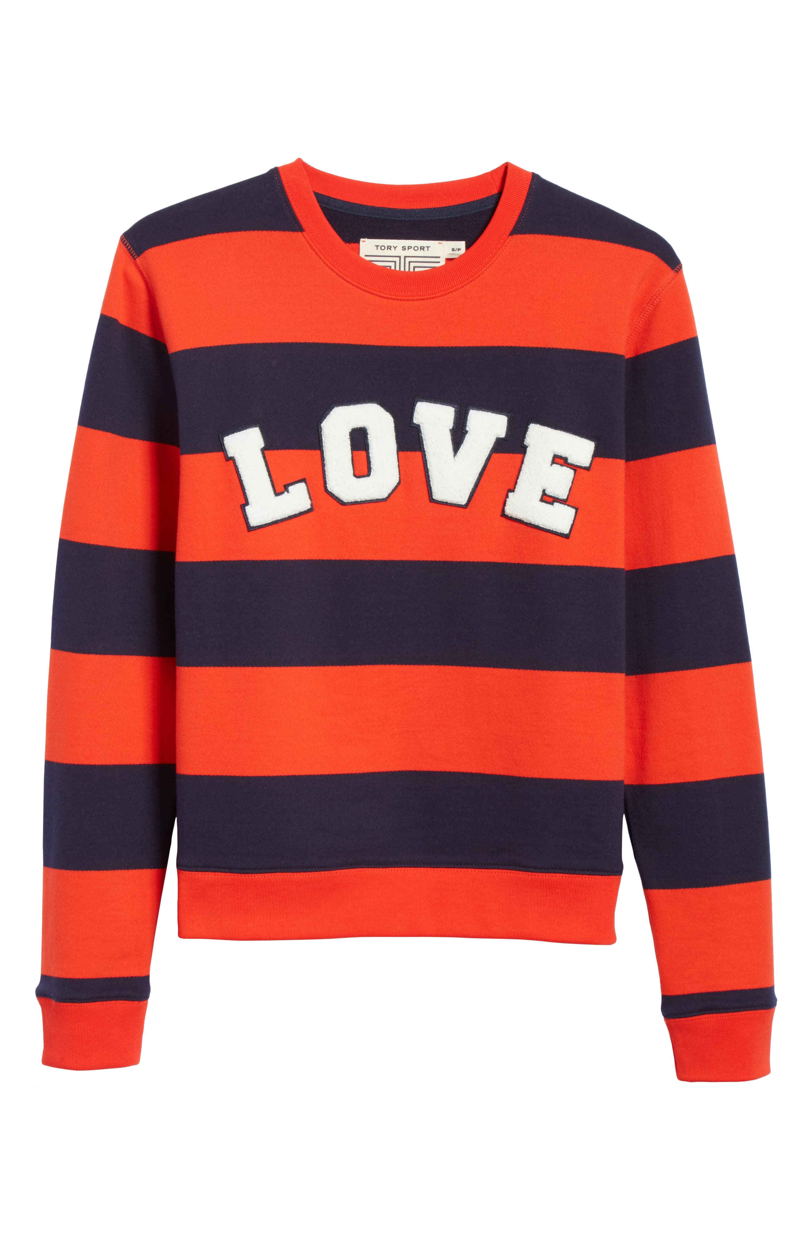 Love Stripe Sweatshirt,                             Alternate thumbnail 6, color,                             RED BROAD STRIPE