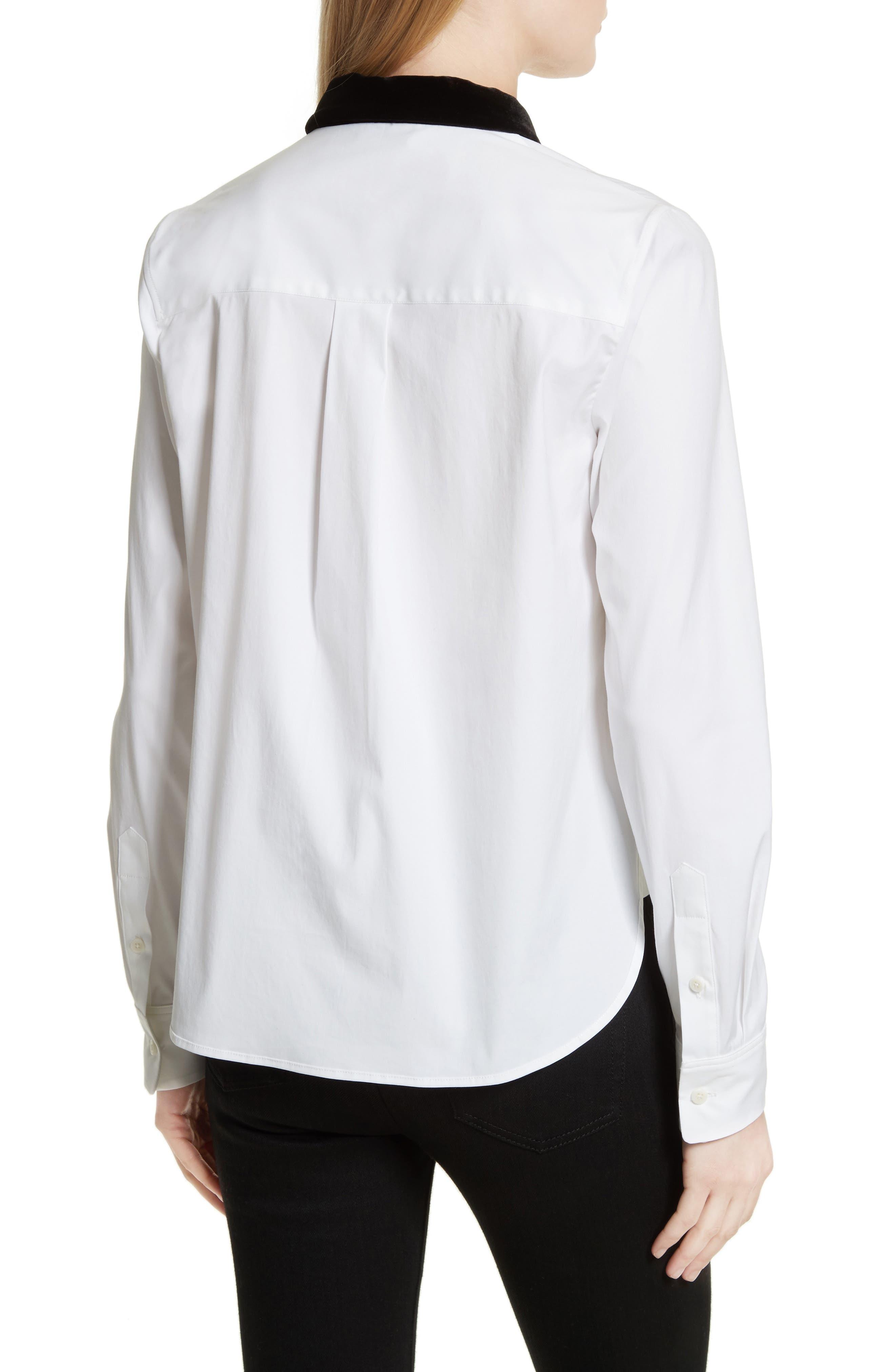 Velvet Collar Stretch Cotton Shirt,                             Alternate thumbnail 2, color,