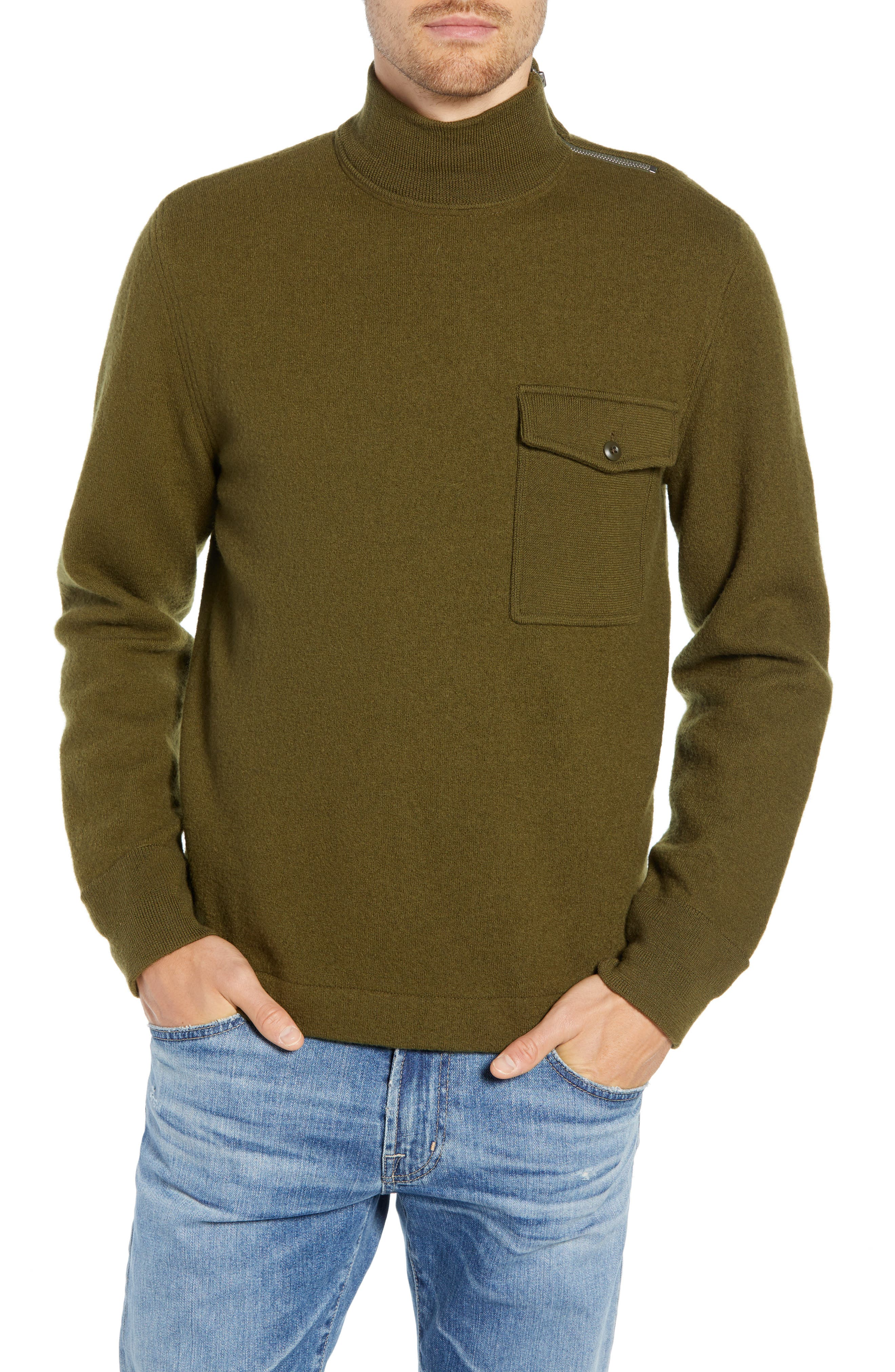 Wallace & Barnes Felted Merino Wool Mock Neck Pullover,                         Main,                         color, ORCHARD GREEN