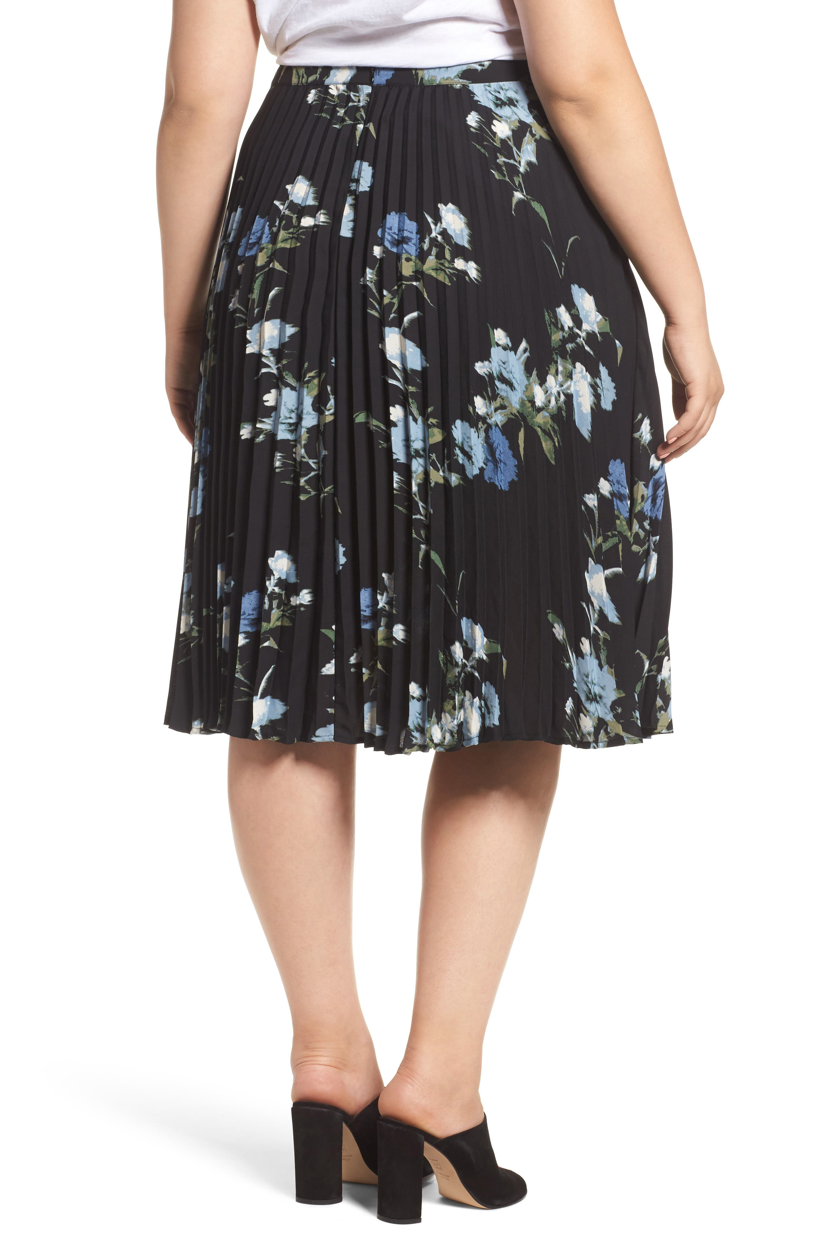 Windswept Bouquet Pleated Skirt,                             Alternate thumbnail 2, color,                             401