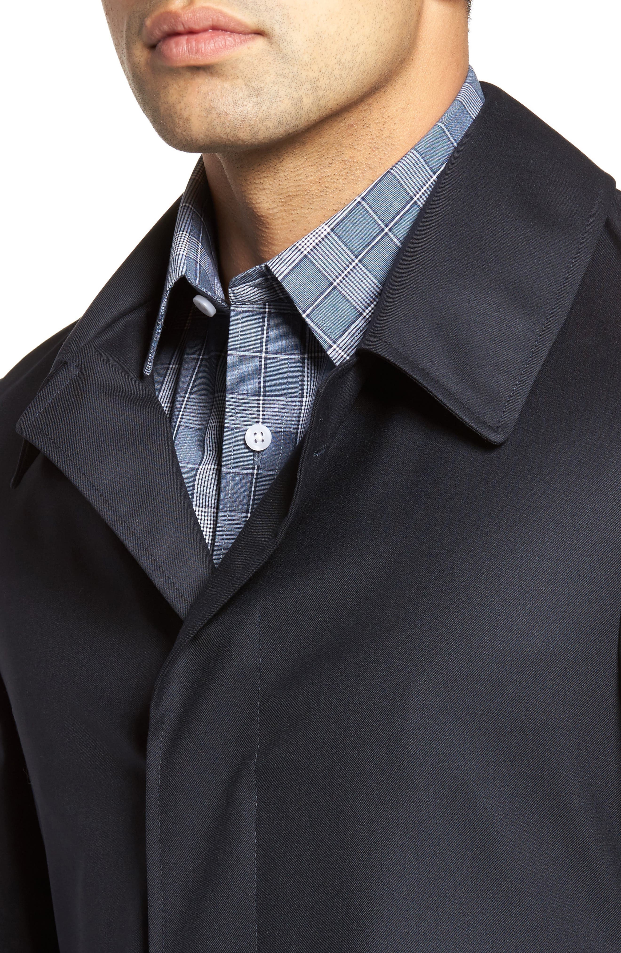 Classic Fit Wool & Cashmere Traveler Topcoat,                             Alternate thumbnail 4, color,                             NAVY SOLID