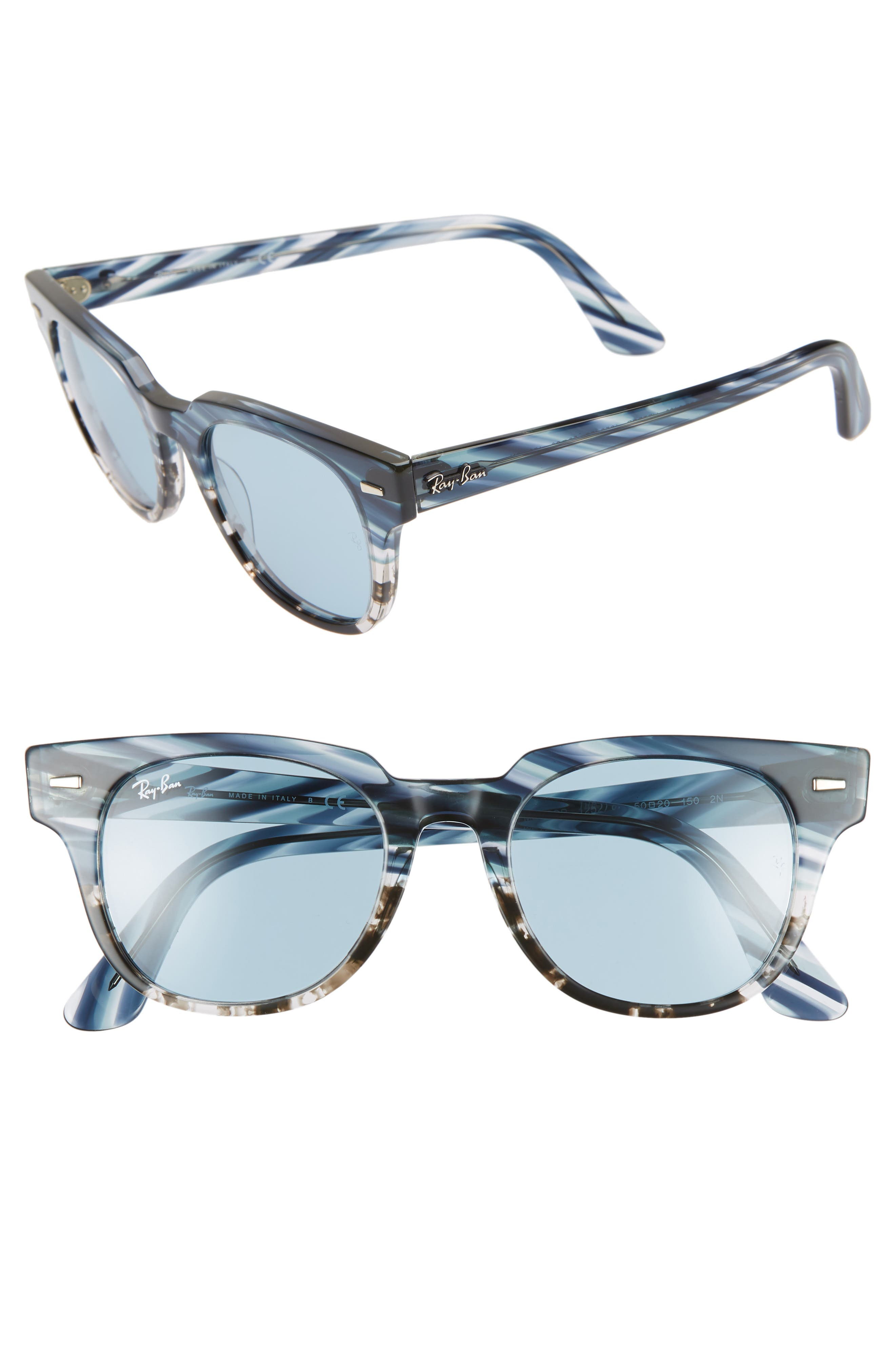 Meteor 50Mm Wayfarer Sunglasses - Blue Grey Solid