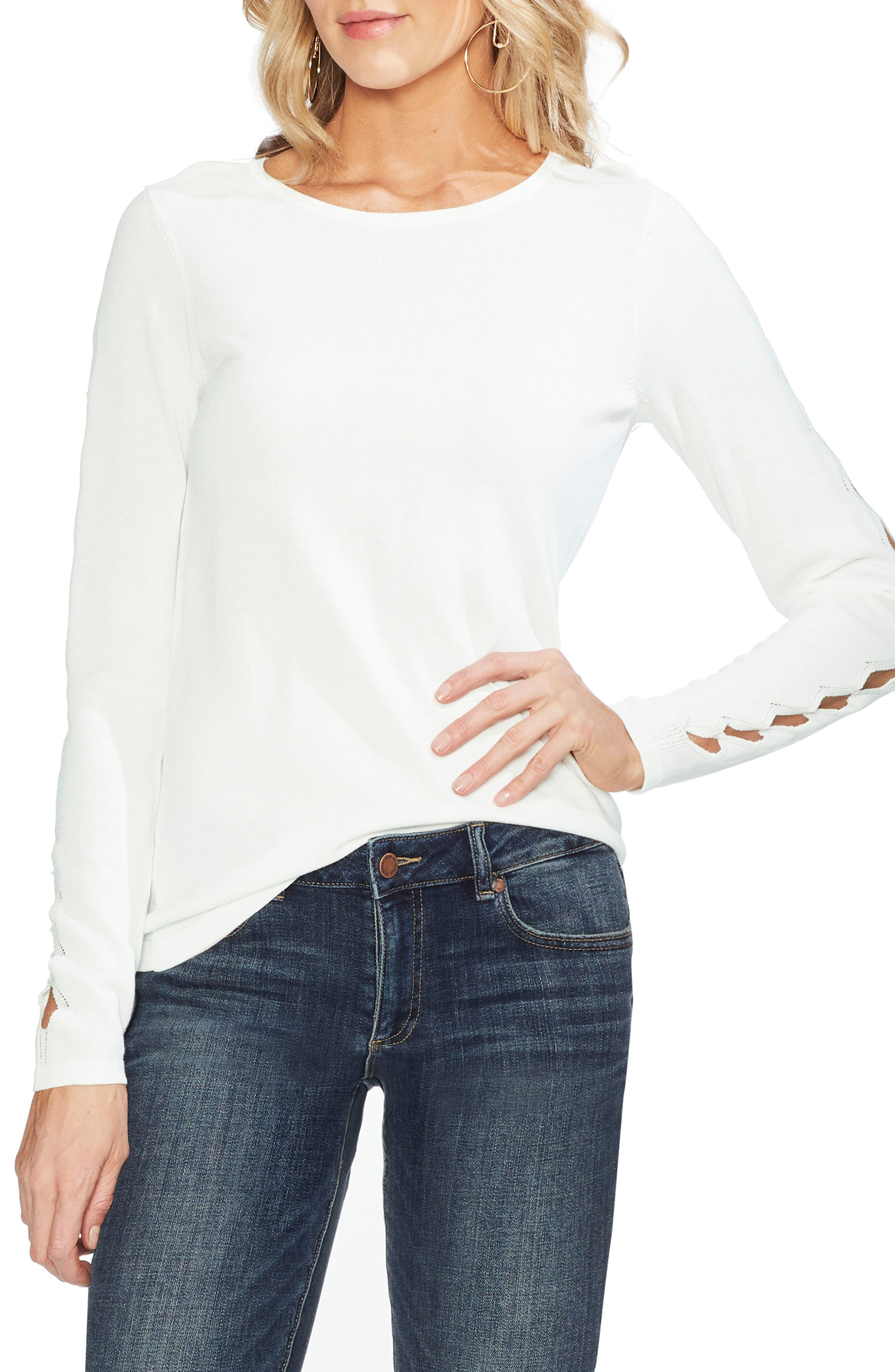 Vince Camuto Cutout Sleeve Sweater, Ivory