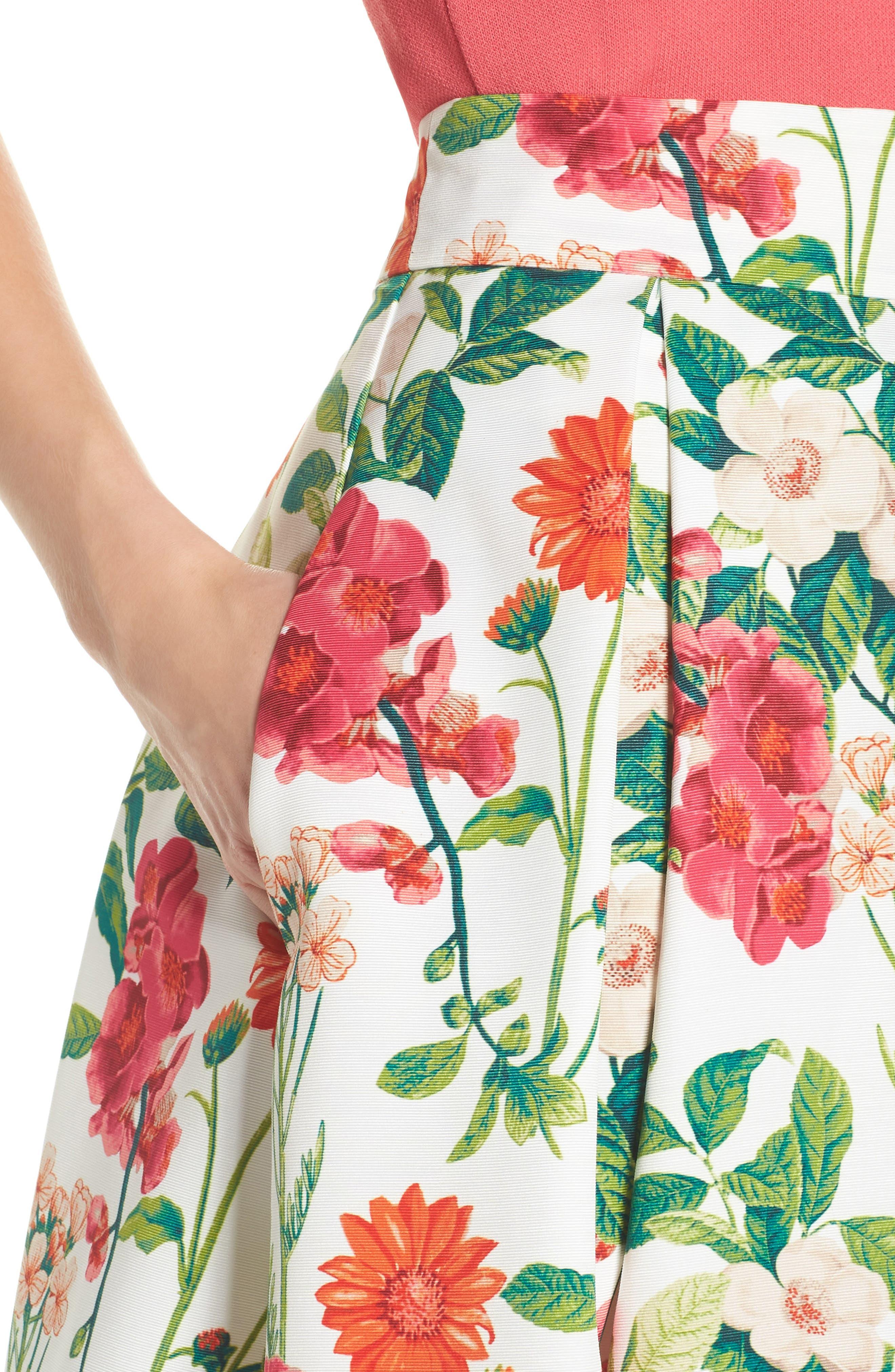Floral A-Line Skirt,                             Alternate thumbnail 4, color,                             901
