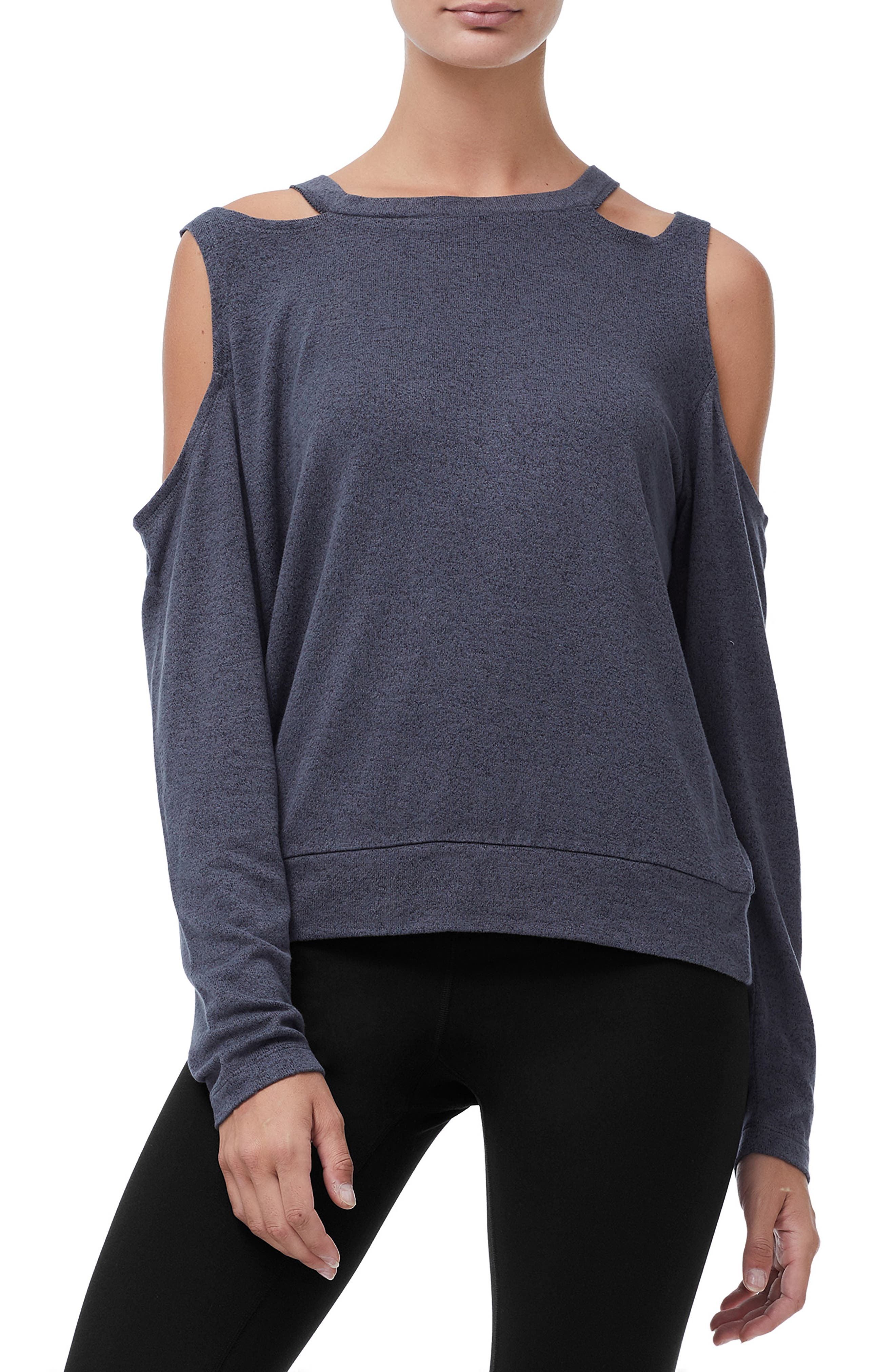 Cold Shoulder Tee,                         Main,                         color, CHARCOAL001