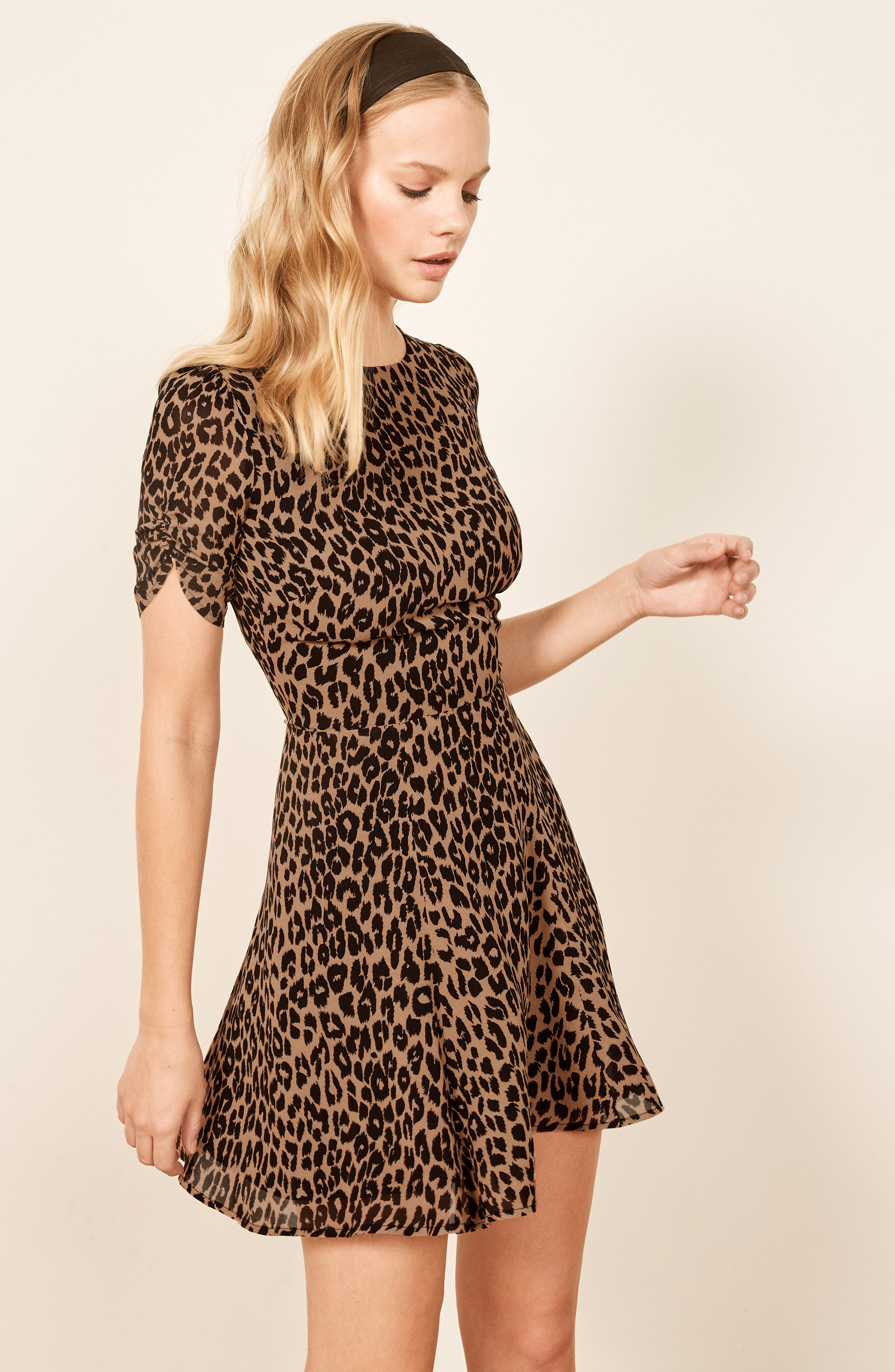 REFORMATION,                             Gracie Ruched Sleeve Minidress,                             Alternate thumbnail 2, color,                             COUGAR
