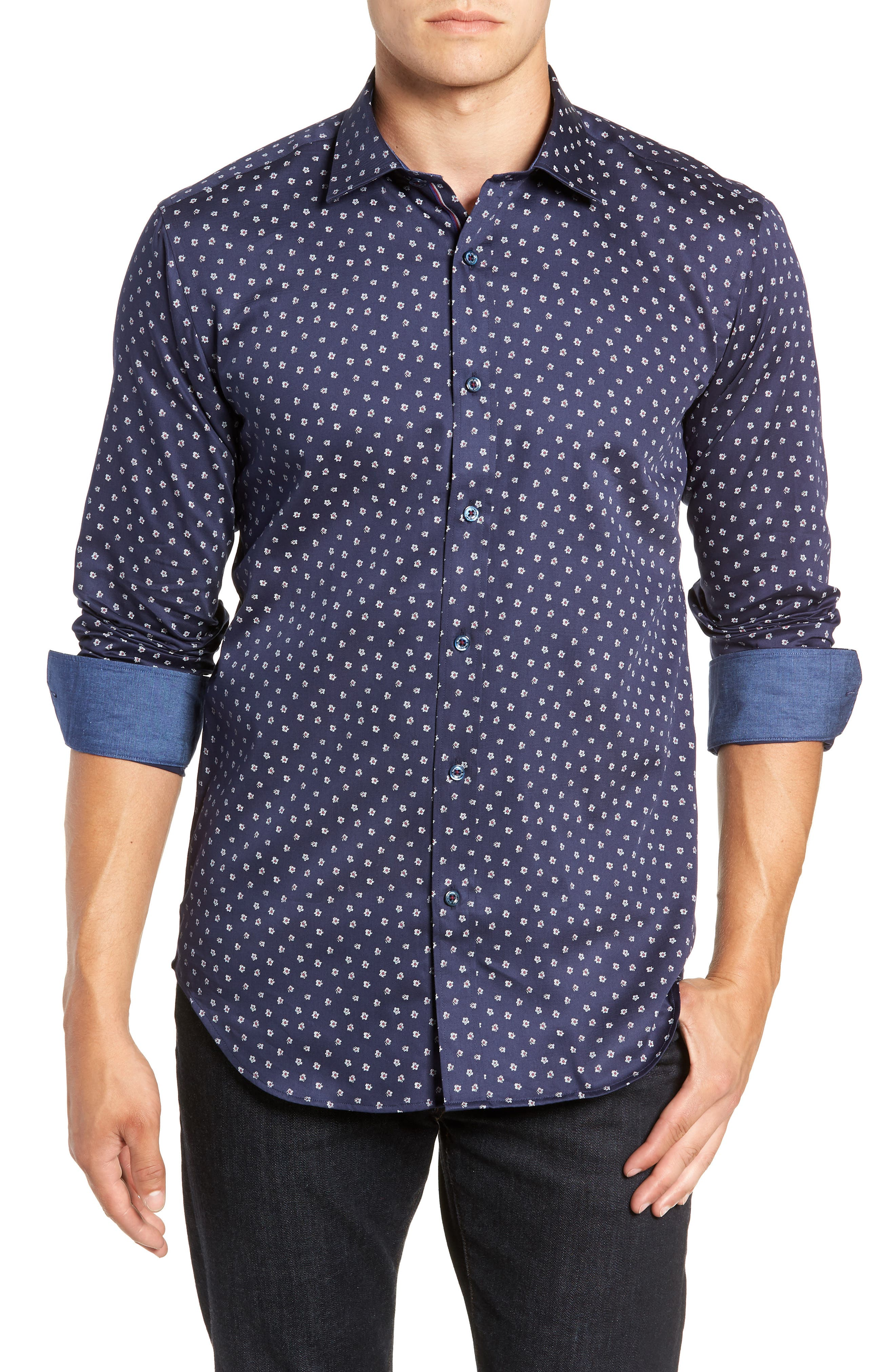 Shaped Fit Flower Print Sport Shirt,                         Main,                         color, MIDNIGHT