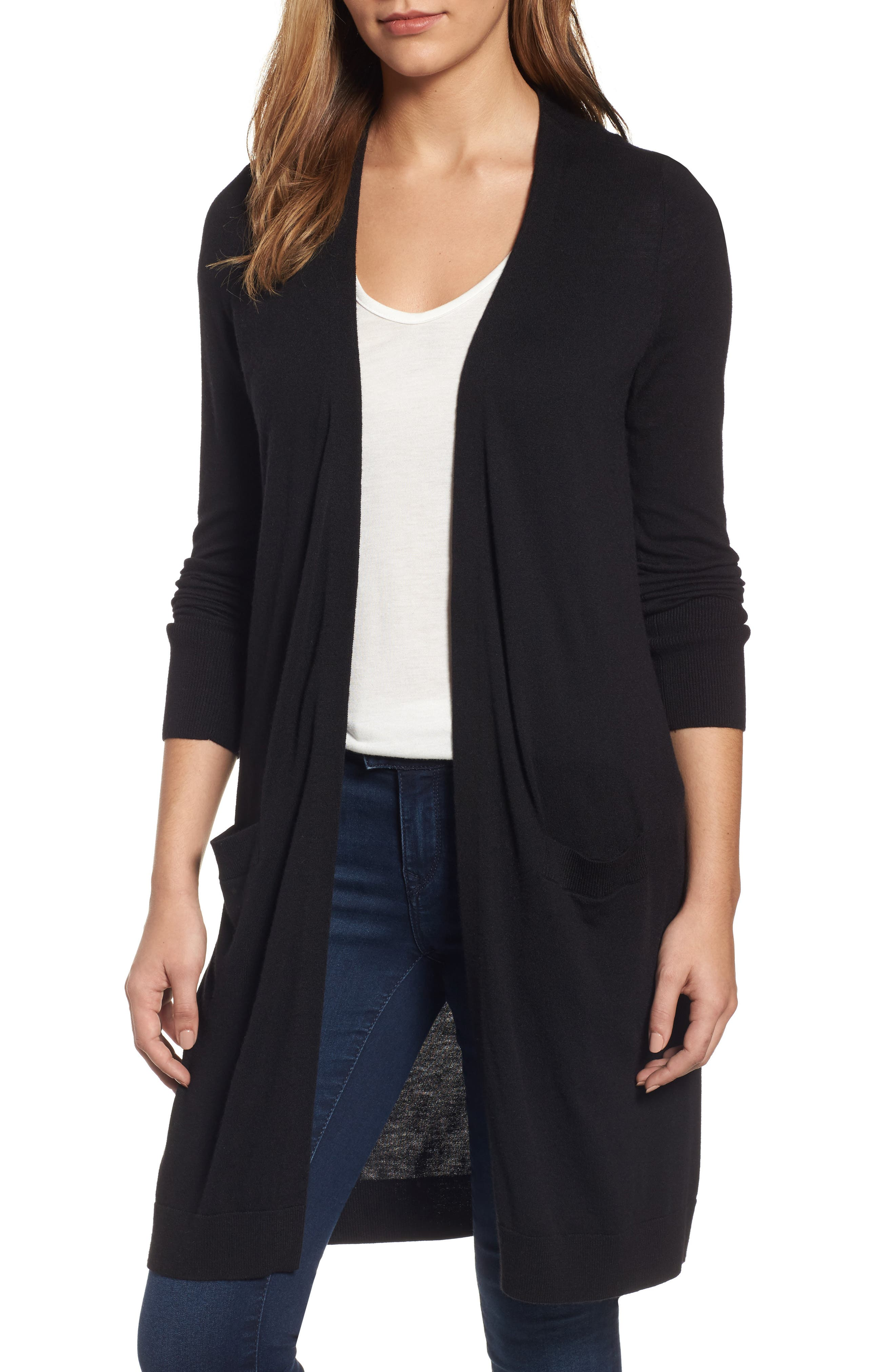Long Open Front Cardigan, Main, color, 001