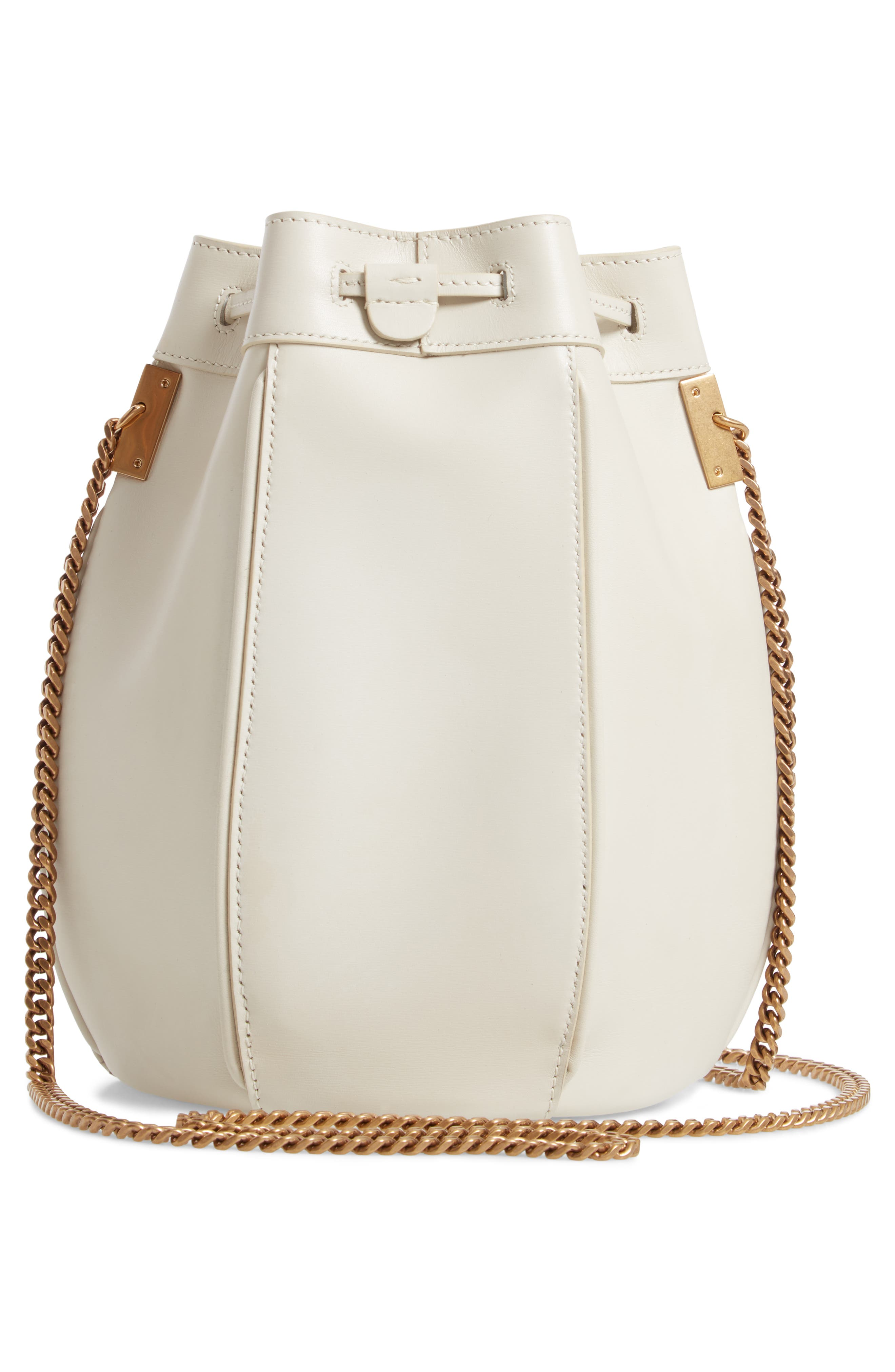 Small Talitha Leather Bucket Bag,                             Alternate thumbnail 3, color,                             CREMASOFT