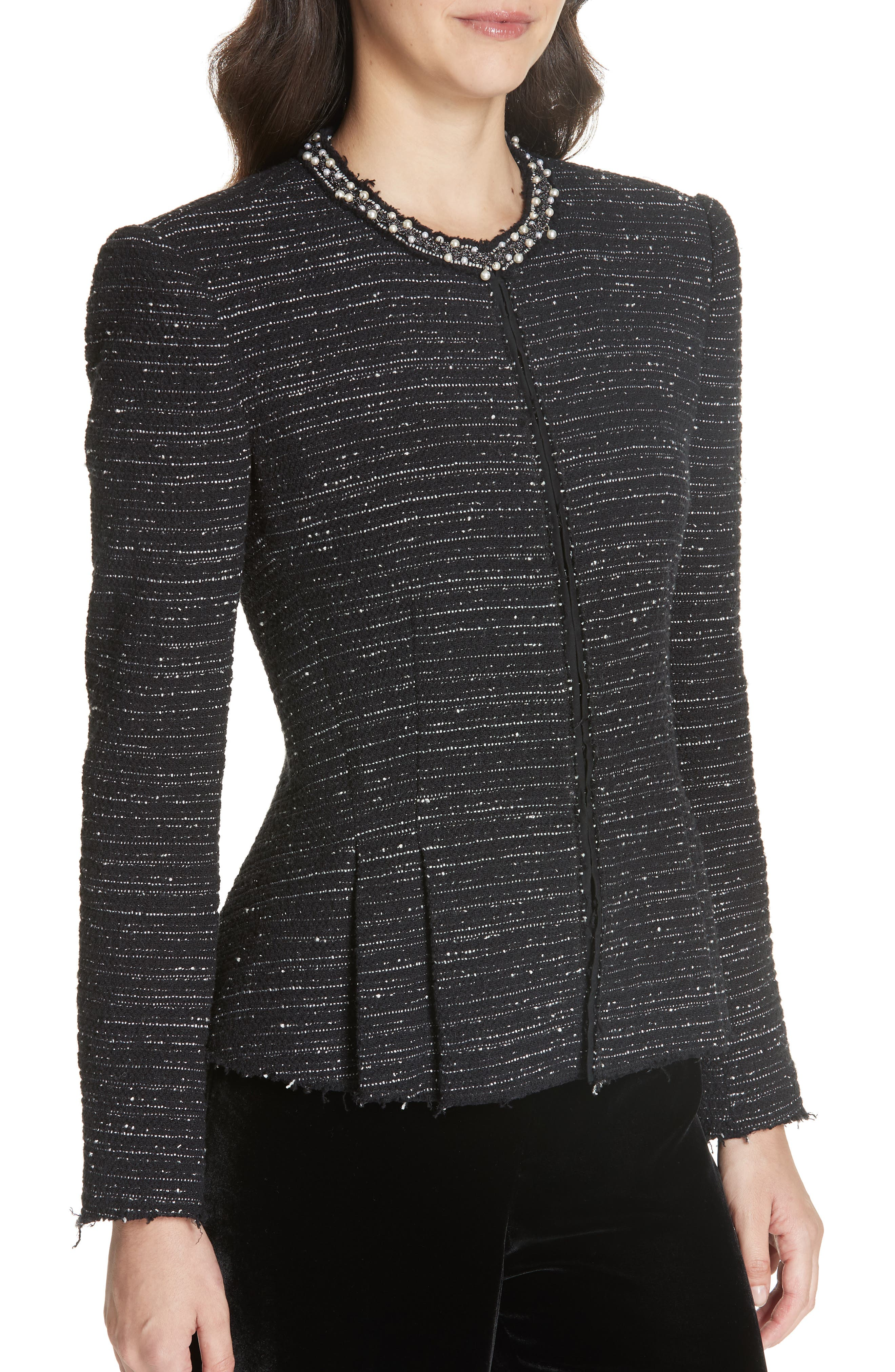 Embellished Stretch Tweed Jacket,                             Alternate thumbnail 4, color,                             BLACK COMBO