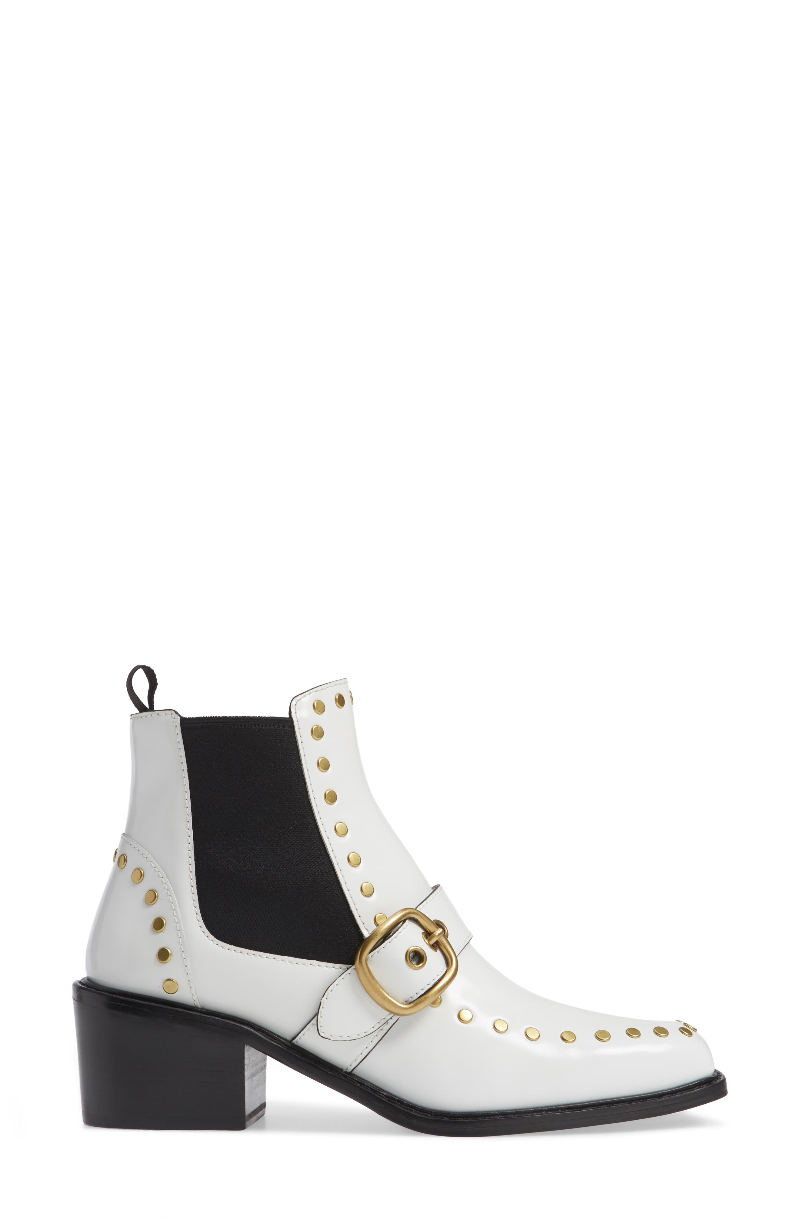 Nora Studded Chelsea Boot,                             Alternate thumbnail 3, color,                             WHITE LEATHER