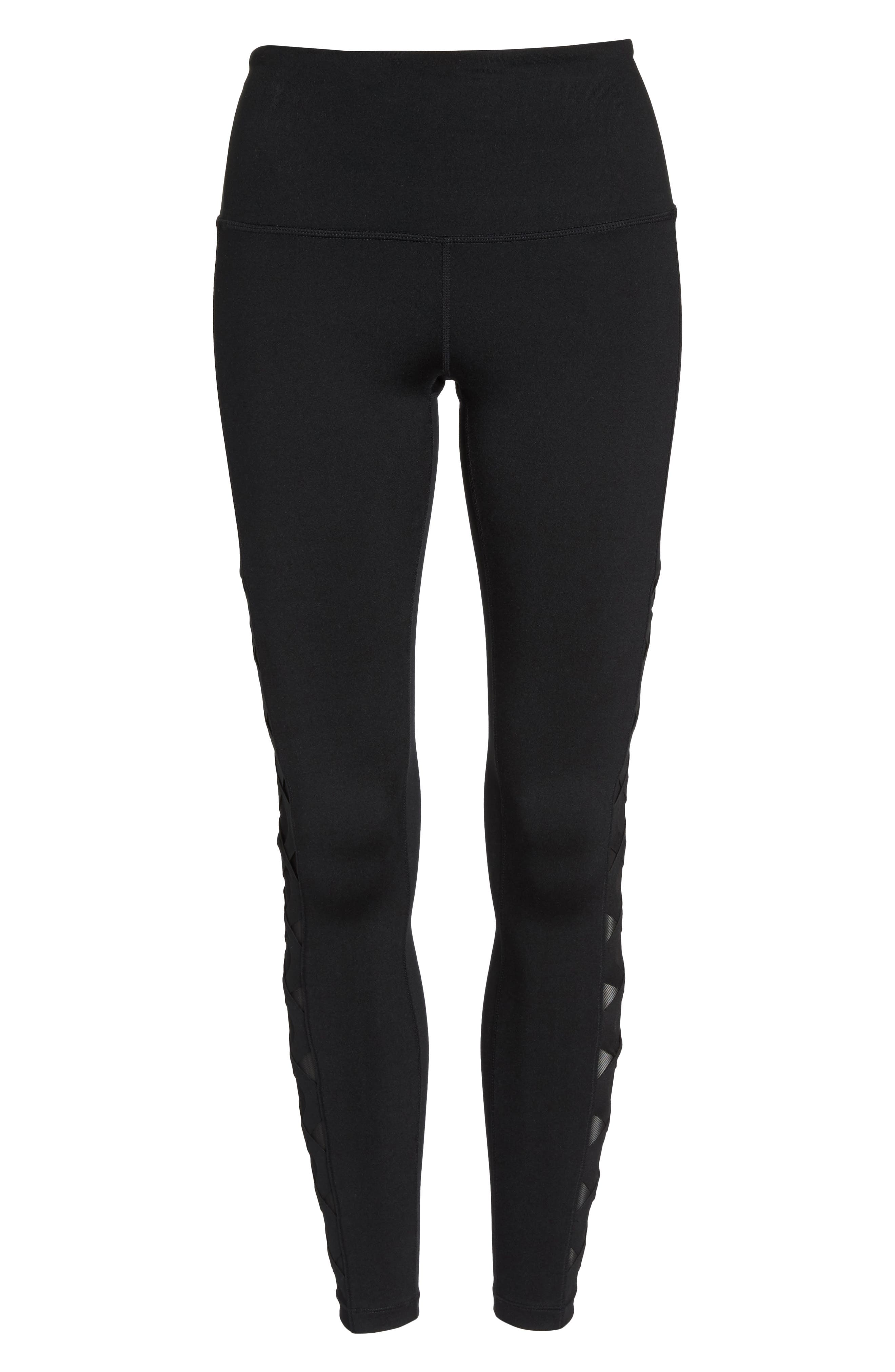 Laser Cut High Waist Leggings,                             Alternate thumbnail 7, color,