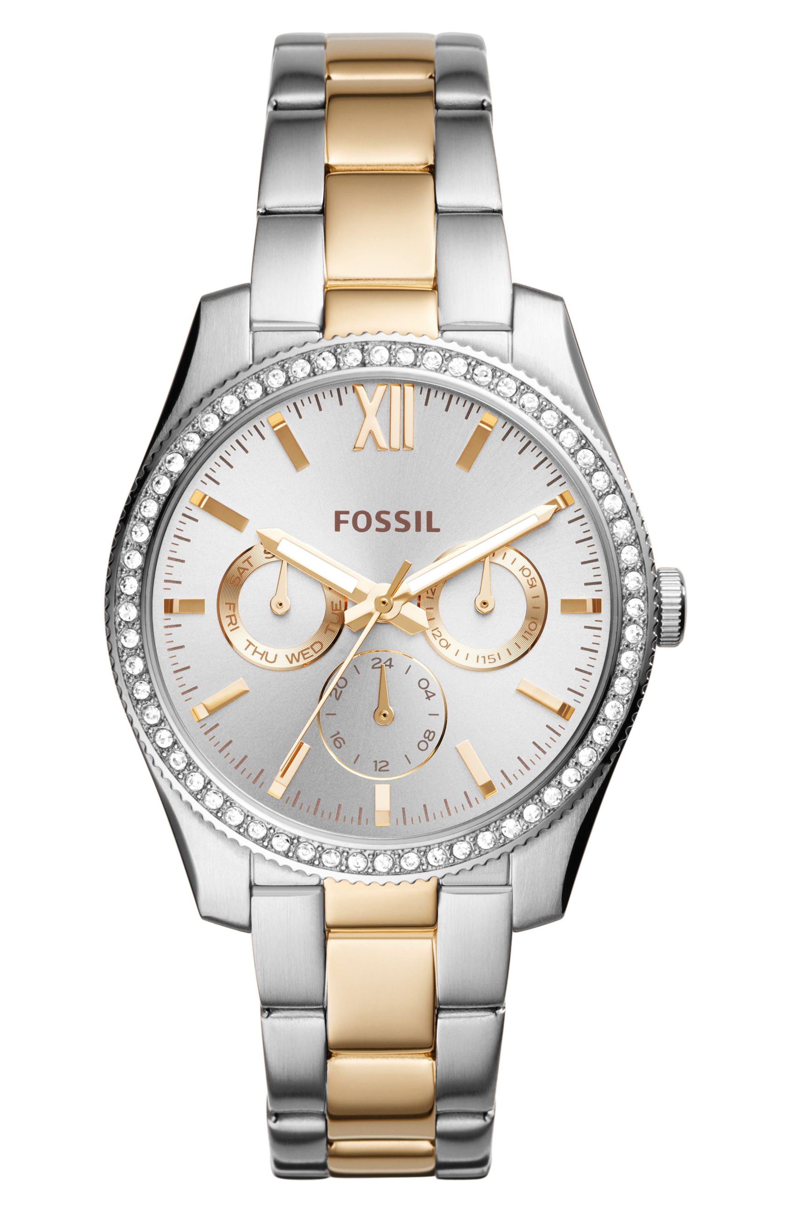 Scarlette Multifunction Crystal Bracelet Watch, 38mm,                         Main,                         color, 040