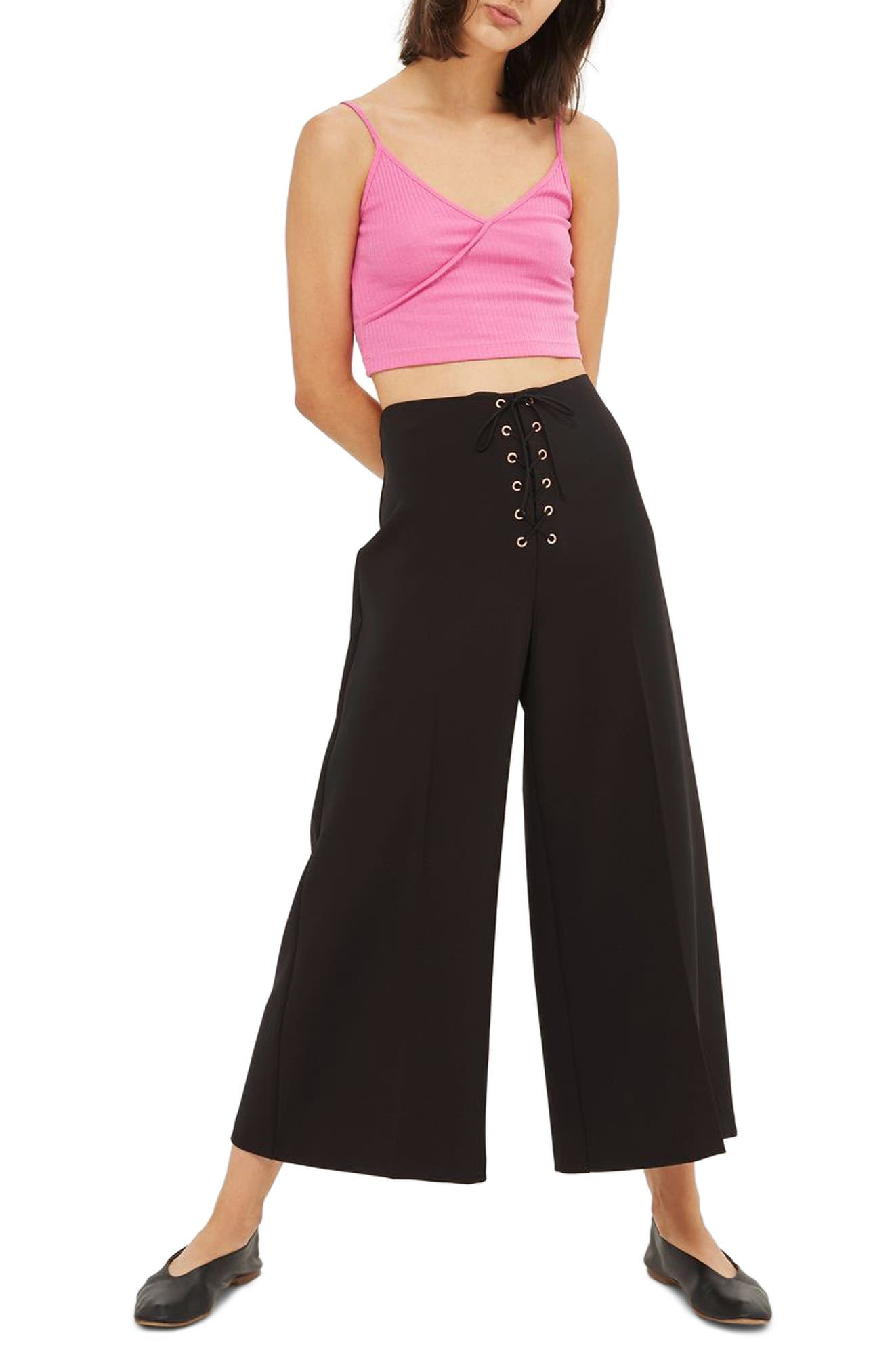 Lace-Up Wide Leg Crop Pants,                             Main thumbnail 1, color,                             001