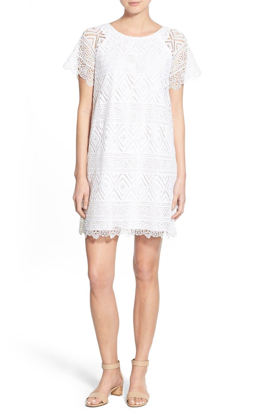 'Lyric' Lace Shift Dress, Main, color, 105