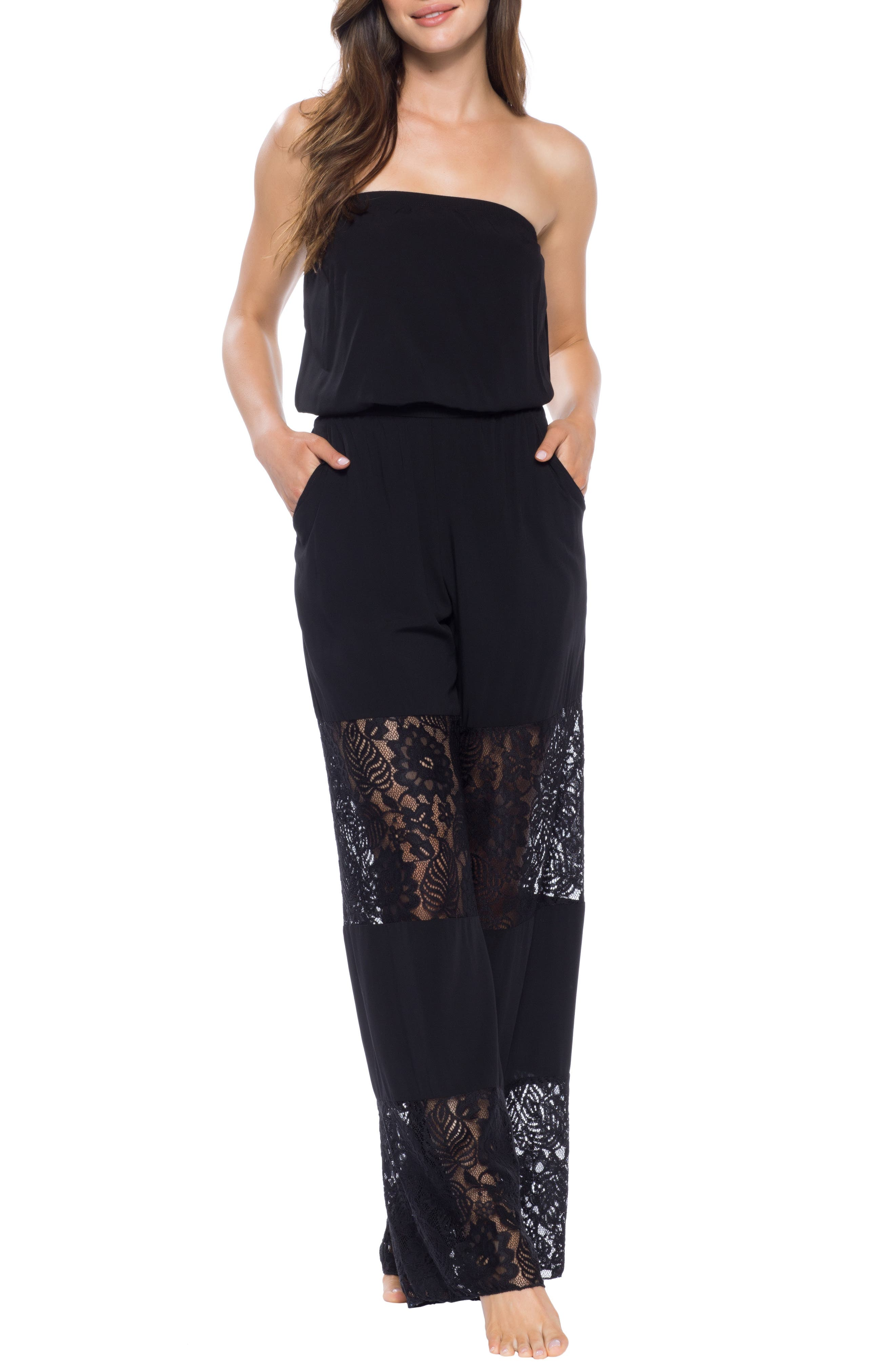 Becca Poetic Lace Inset Jumpsuit Cover-Up, Black