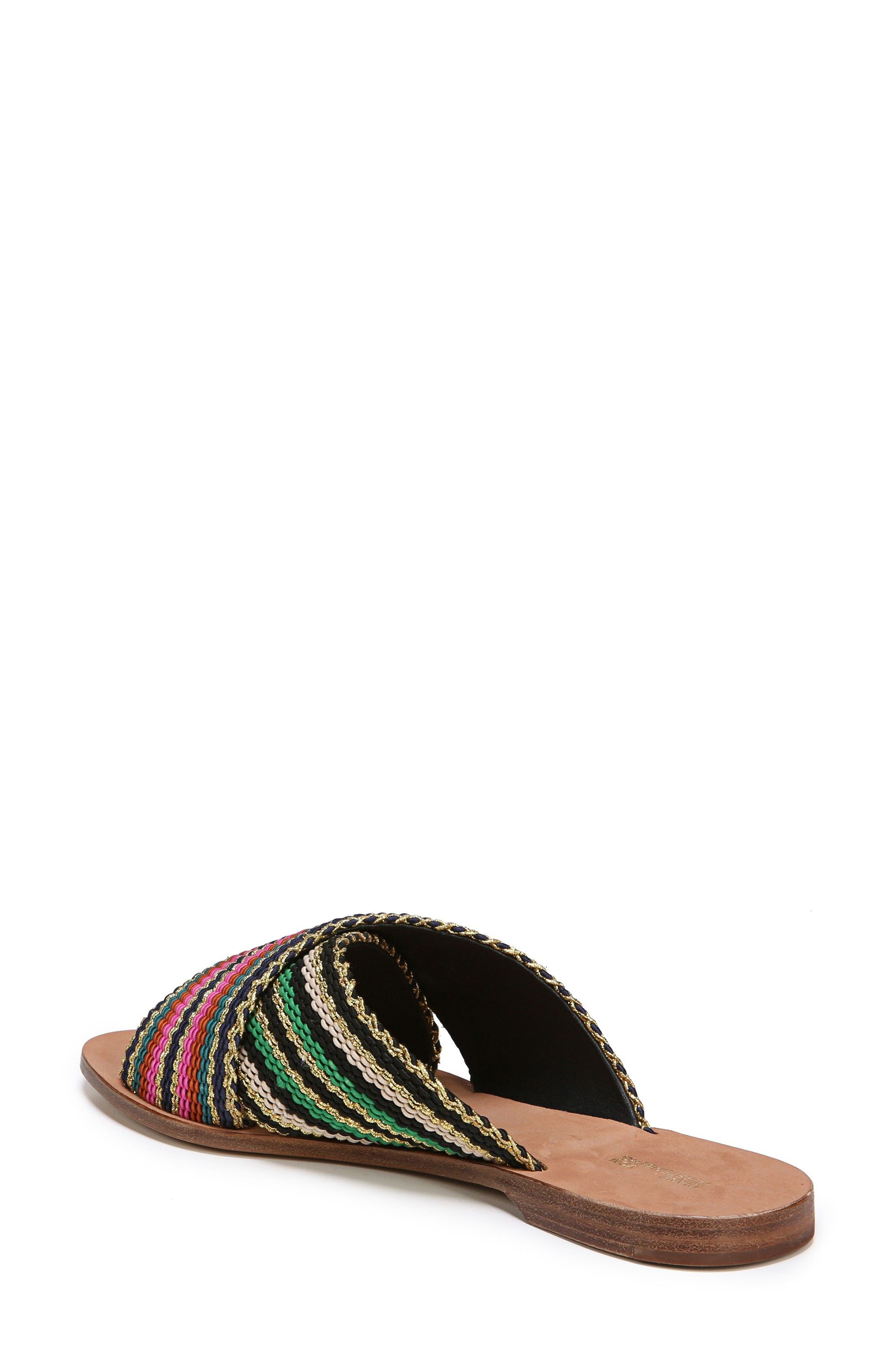 Cindi Woven Slide Sandal,                             Alternate thumbnail 2, color,                             BLACK/ GOLD