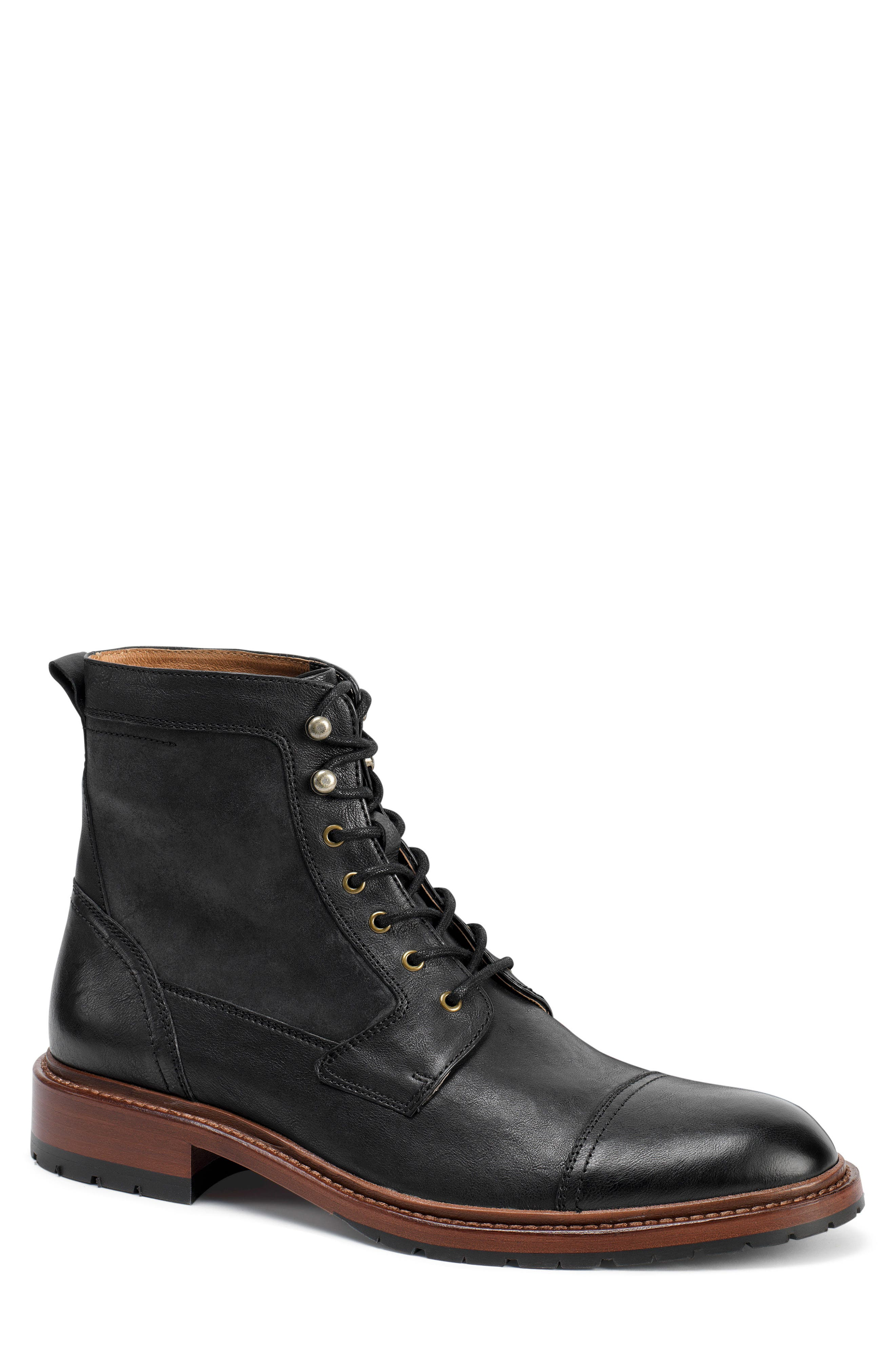 'Lowell' Cap Toe Boot,                             Main thumbnail 1, color,                             BLACK WASHED LEATHER