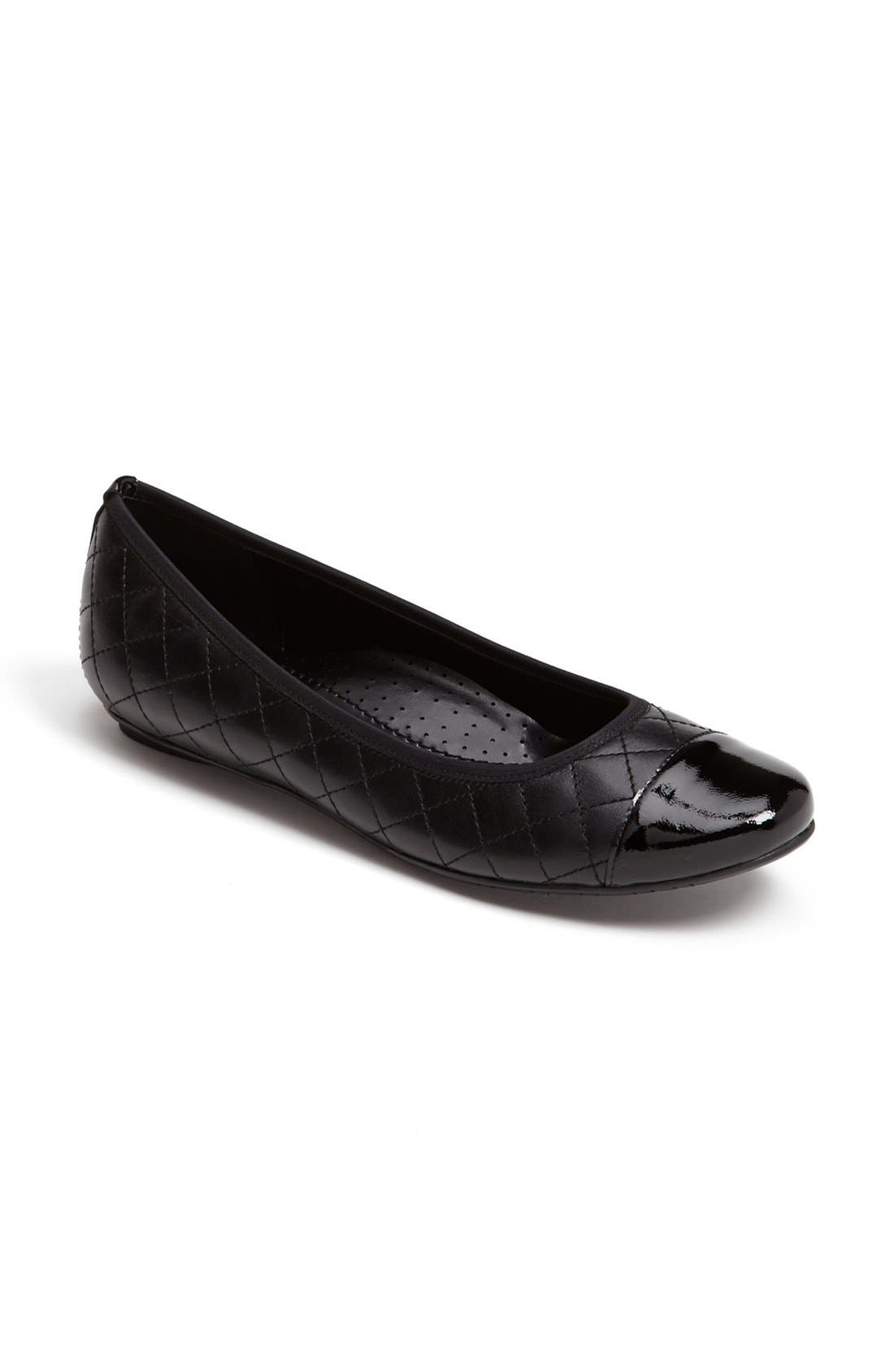 'Serene' Flat,                             Alternate thumbnail 2, color,                             BLACK NAPPA/ BLACK PATENT