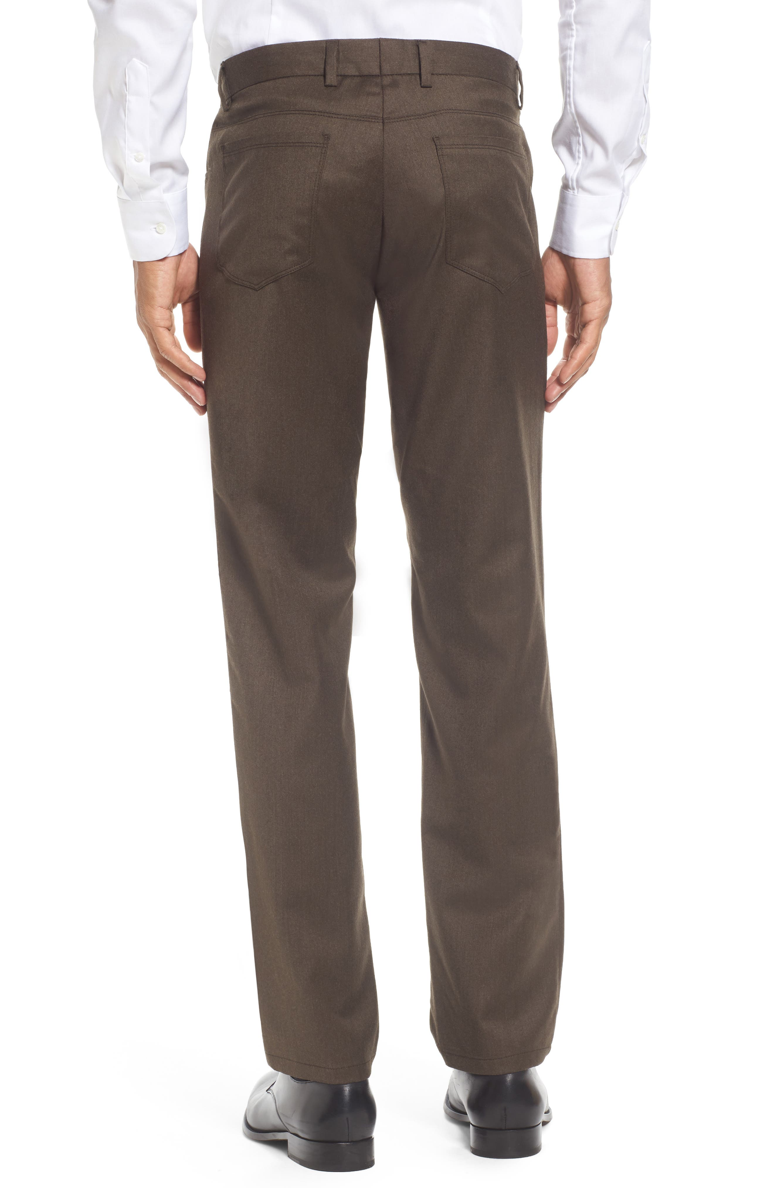 Flat Front Solid Stretch Wool Trousers,                             Alternate thumbnail 8, color,