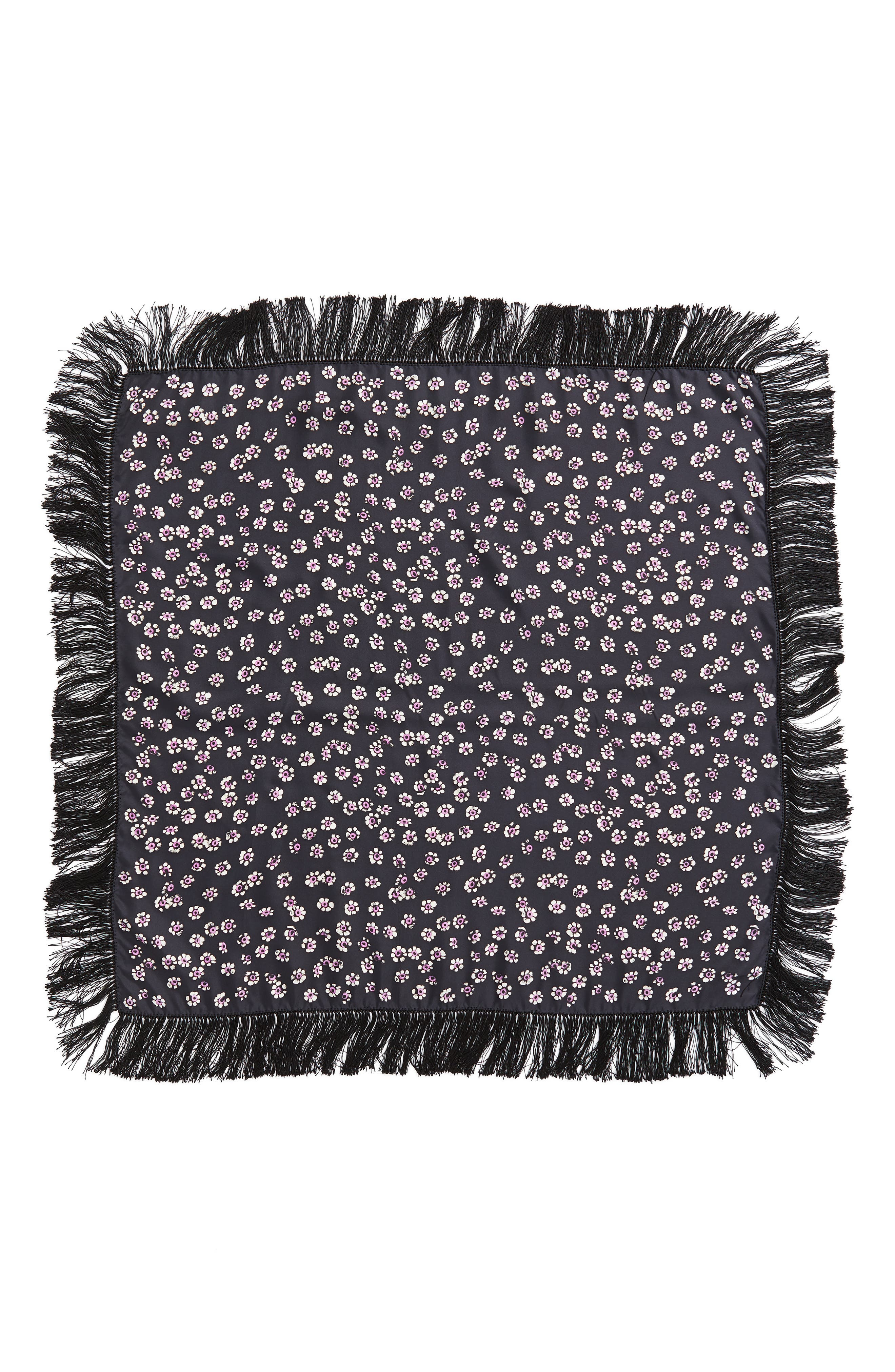 TORY BURCH,                             Fringed Square Silk Scarf,                             Alternate thumbnail 3, color,                             016