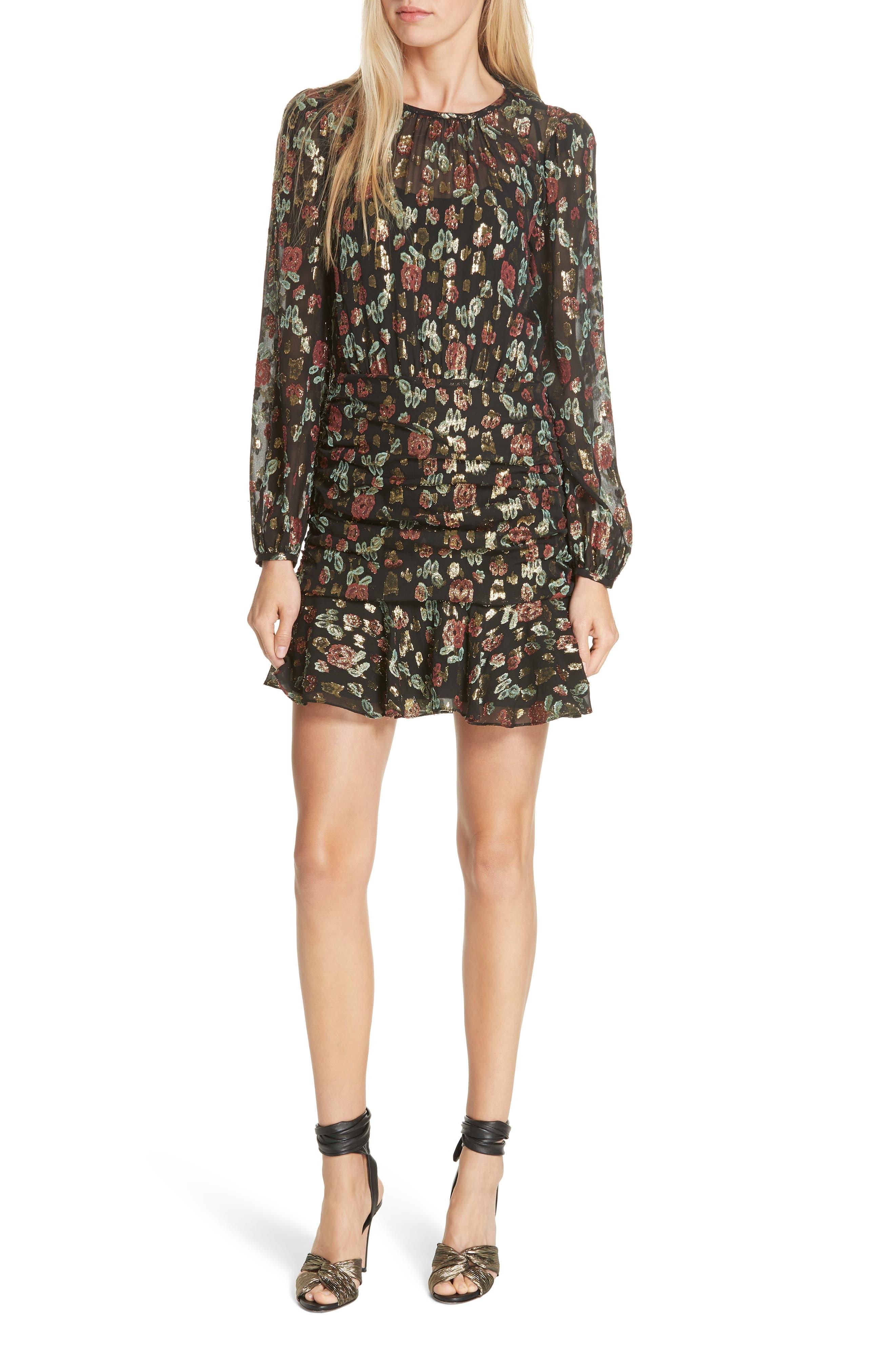 Robin Silk Blend Jacquard Minidress,                             Main thumbnail 1, color,                             001