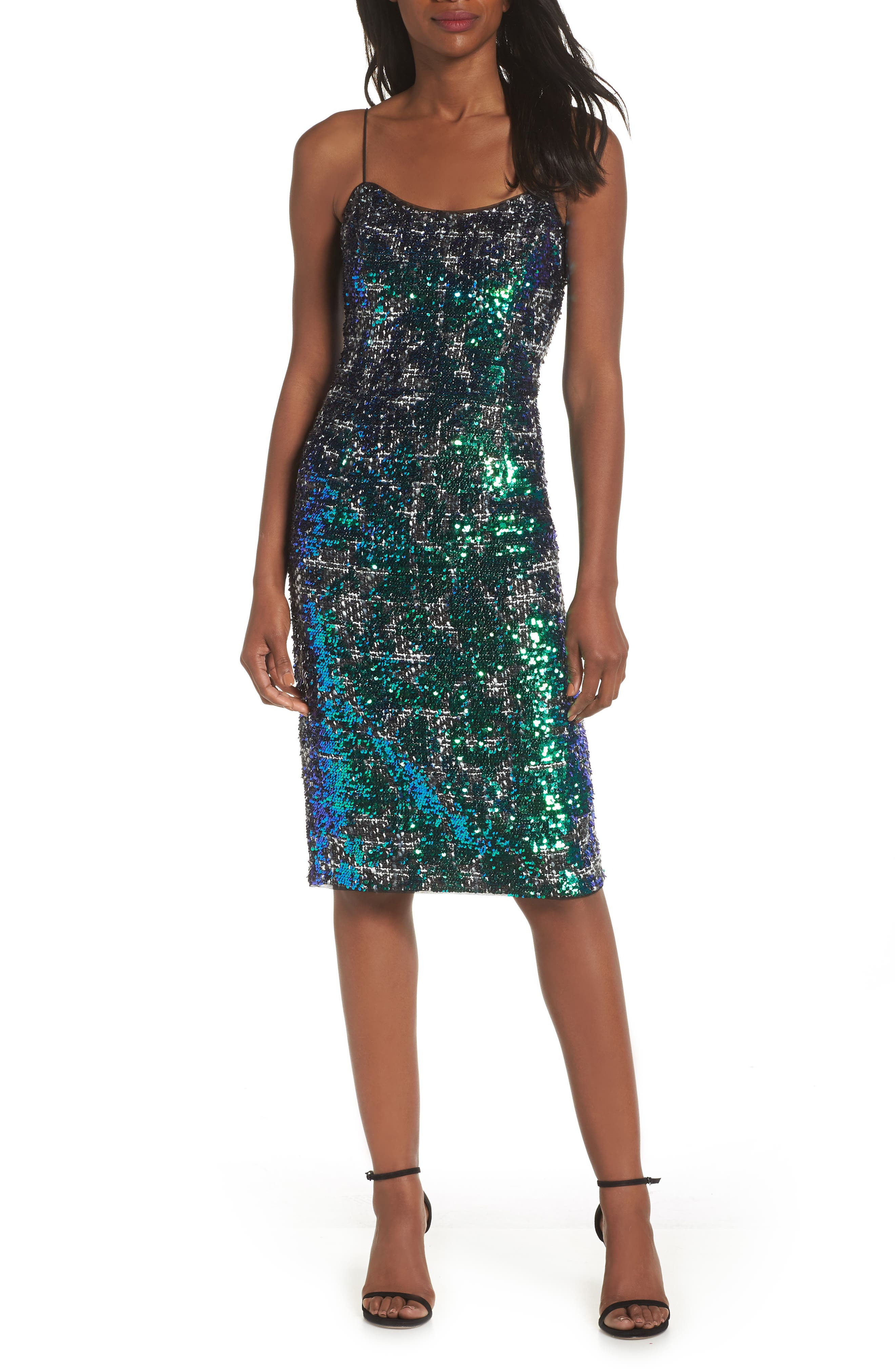 Adrianna Papell Sequin Tweed Dress, Green