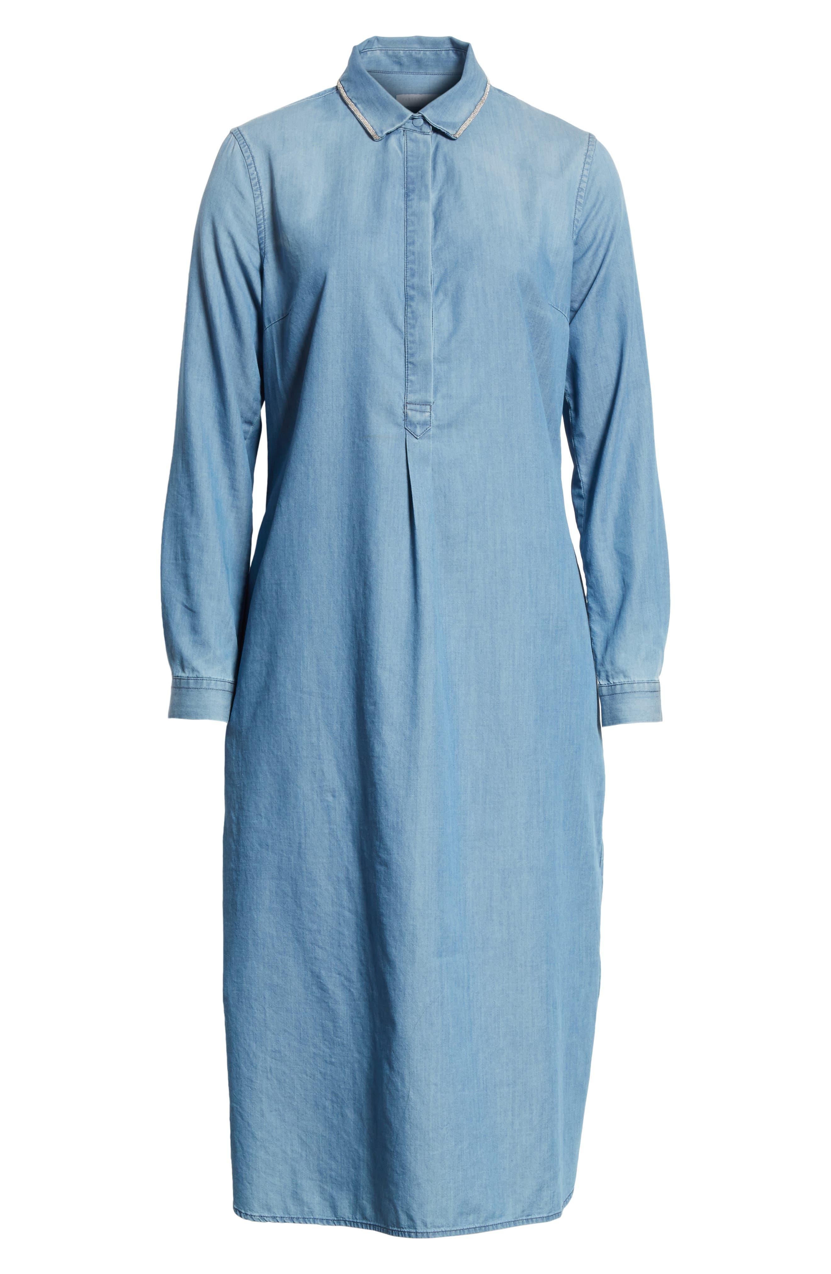 Cotton & Cashmere Chambray Shirtdress,                             Alternate thumbnail 6, color,                             400