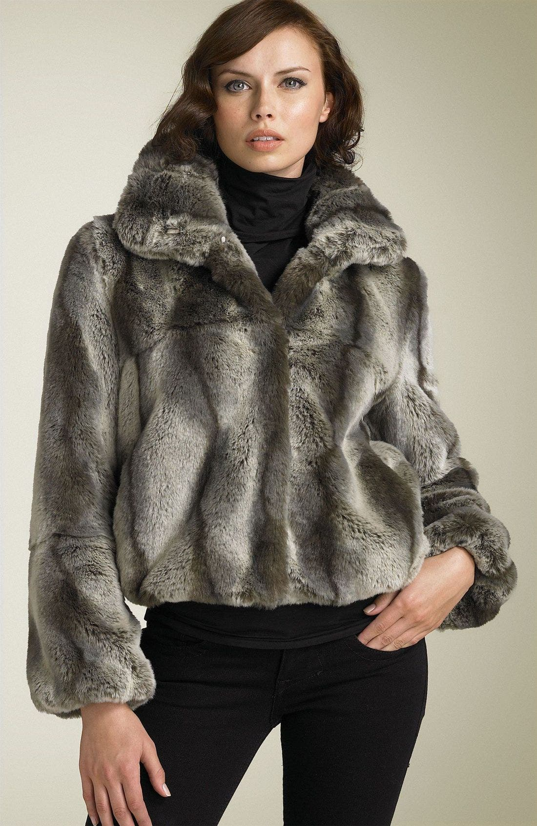 Faux Chinchilla Fur Bomber Jacket, Main, color, 020