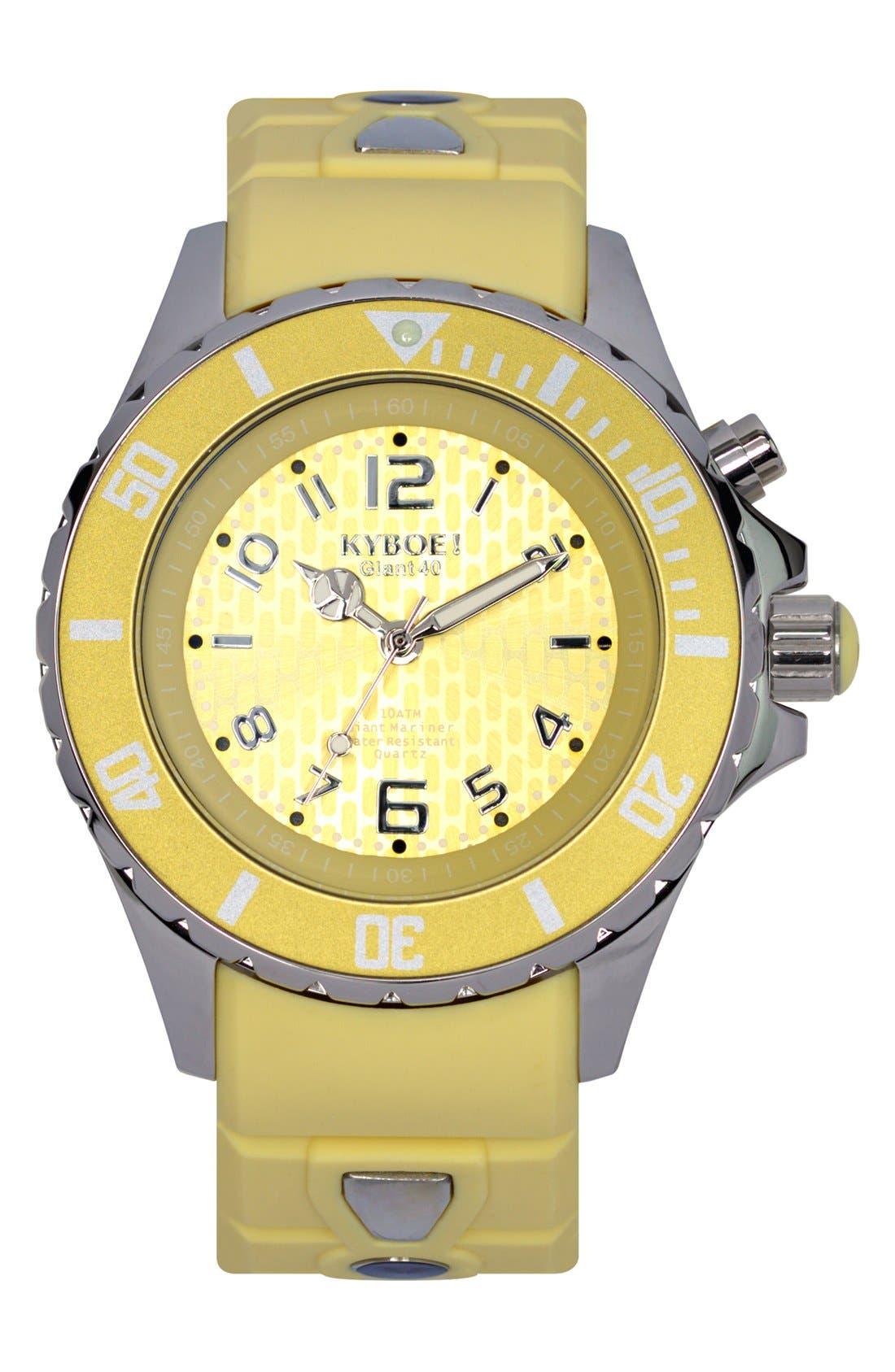 Silicone Strap Watch, 40mm,                         Main,                         color, YELLOW CREAM/ YELLOW CREAM