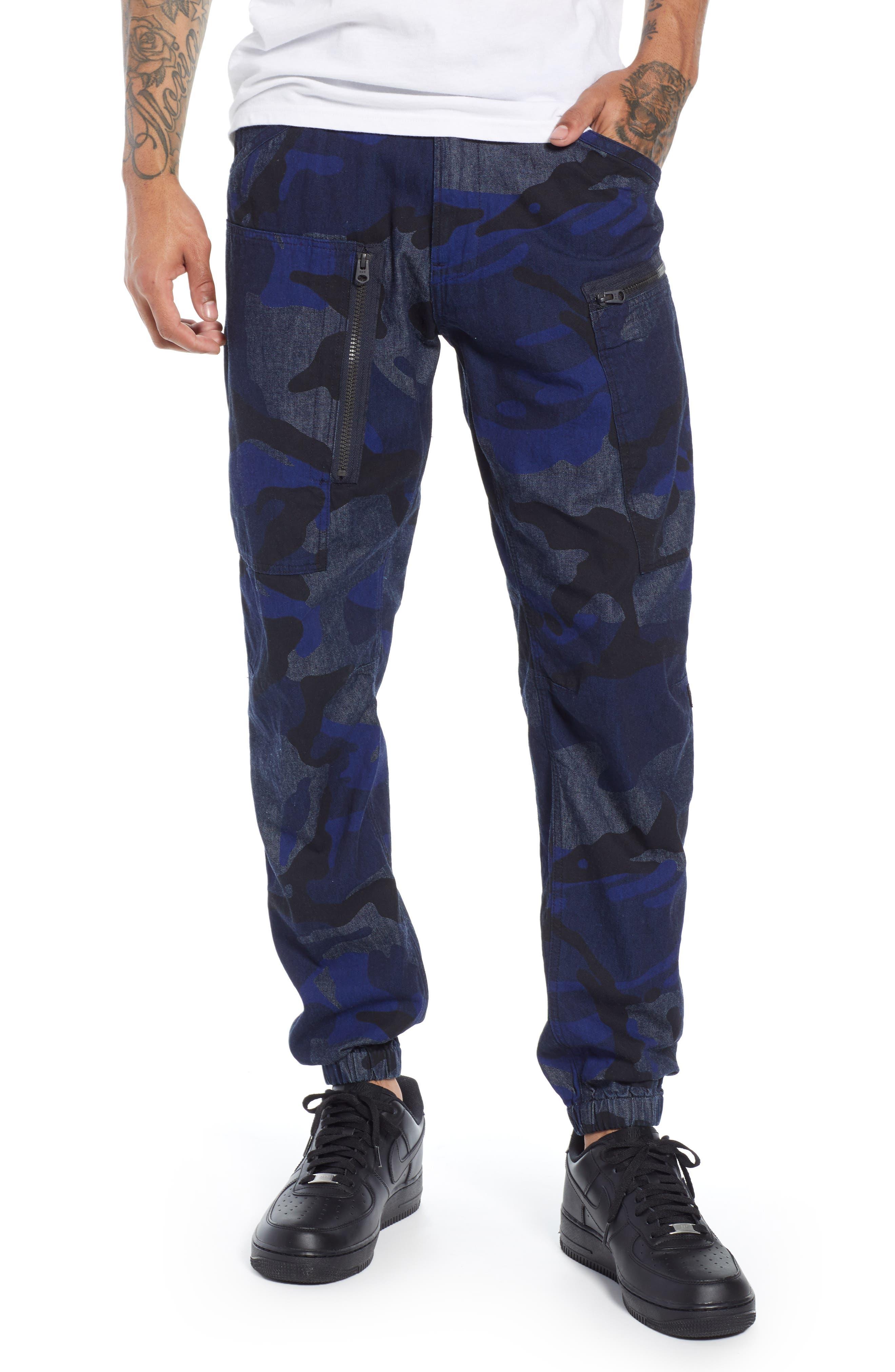 Powel Tapered Pants,                         Main,                         color, RAW DENIM/ PHANTOM BLUE