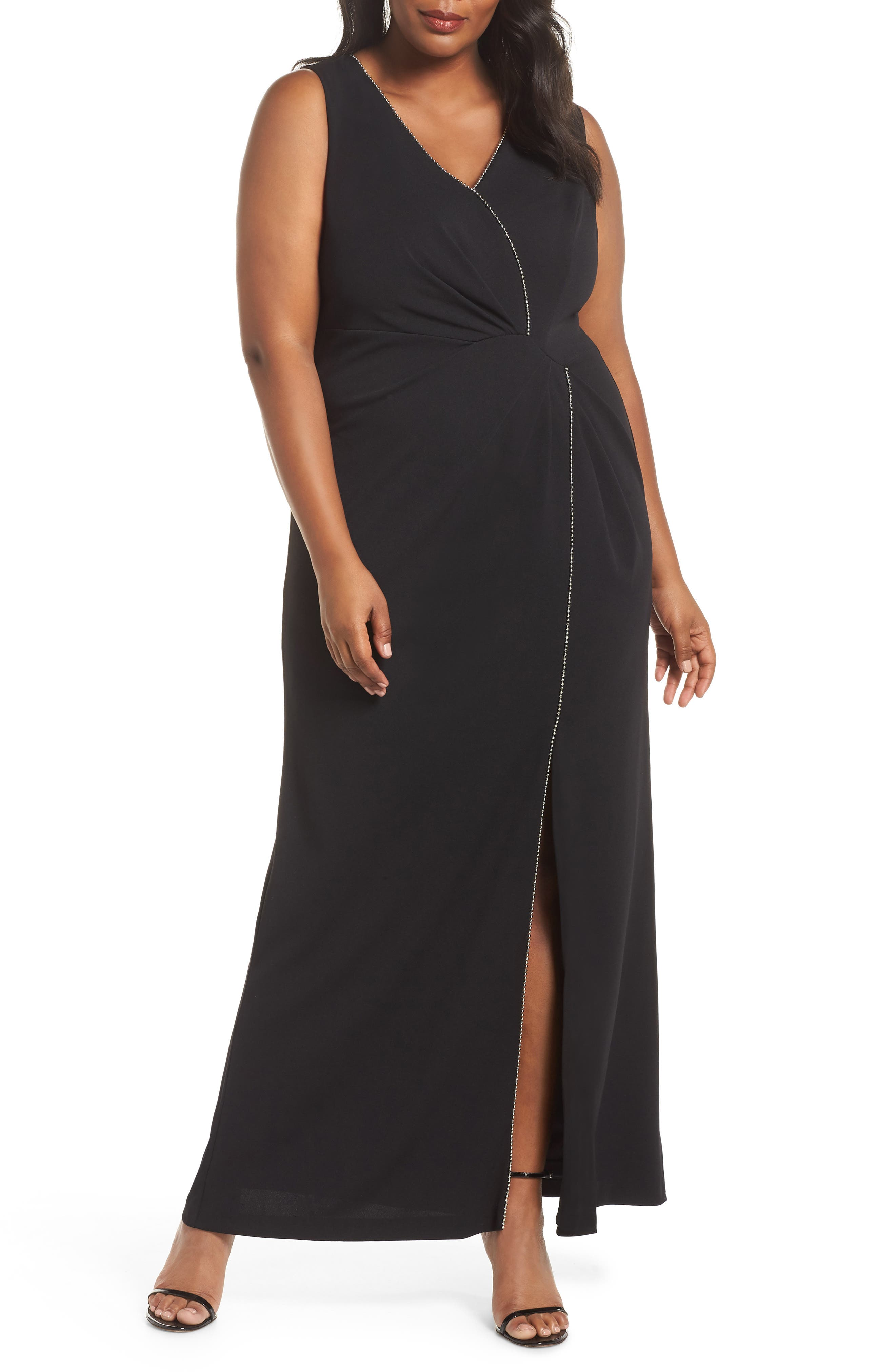 Beaded Trim Gown, Main, color, BLACK