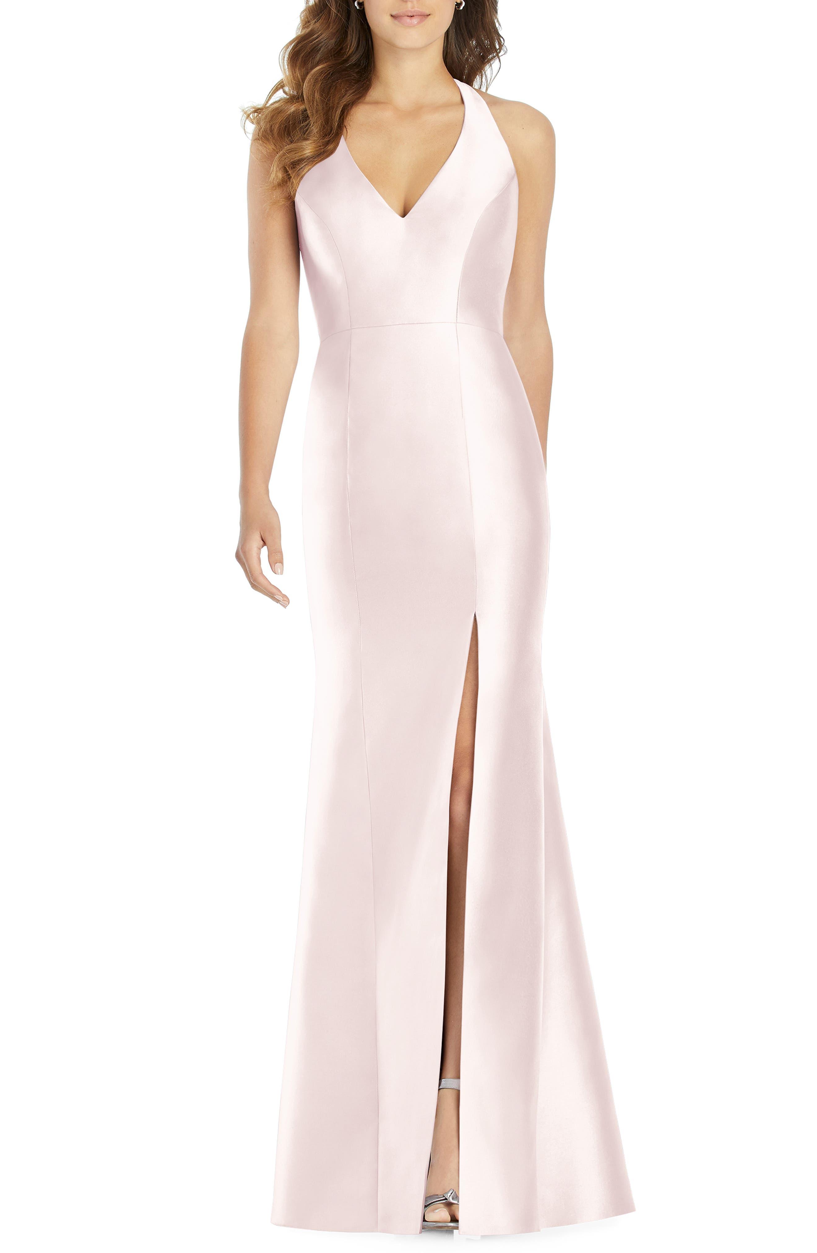 Alfred Sung Halter Neck Sateen Twill Trumpet Gown, Pink