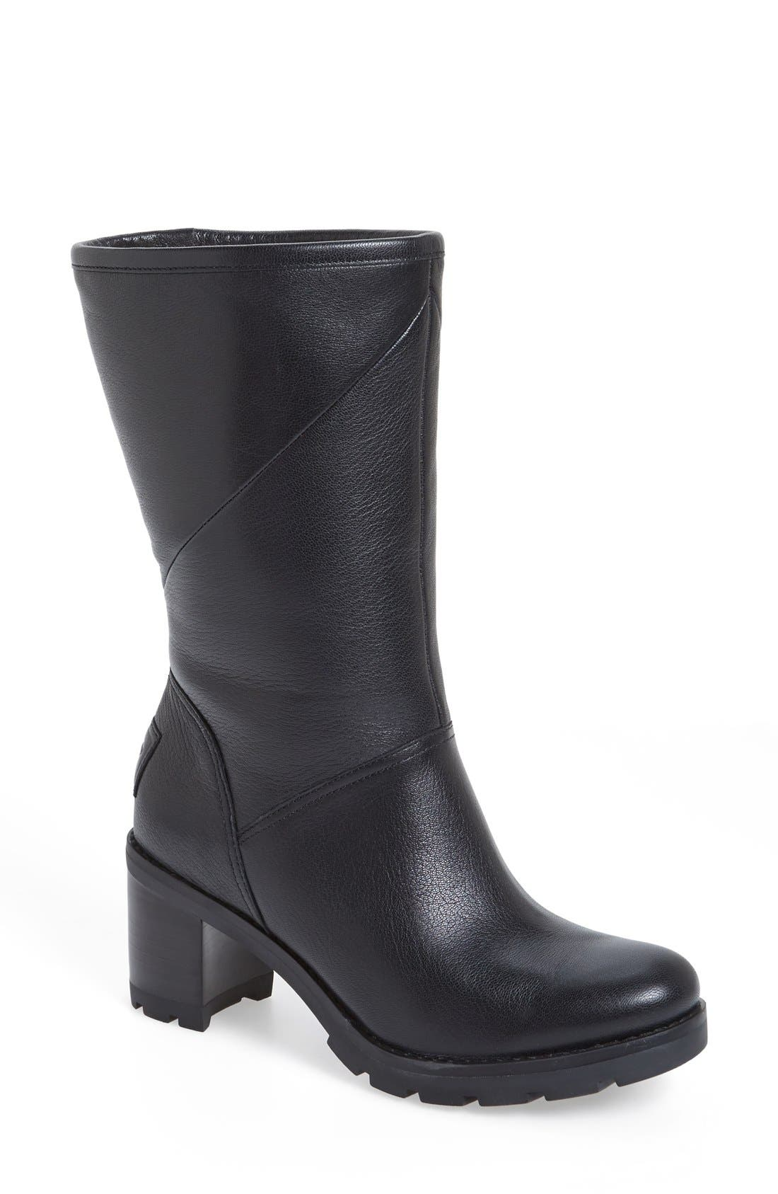 'Jessia' Water Resistant Block Heel Boot,                             Main thumbnail 1, color,                             001