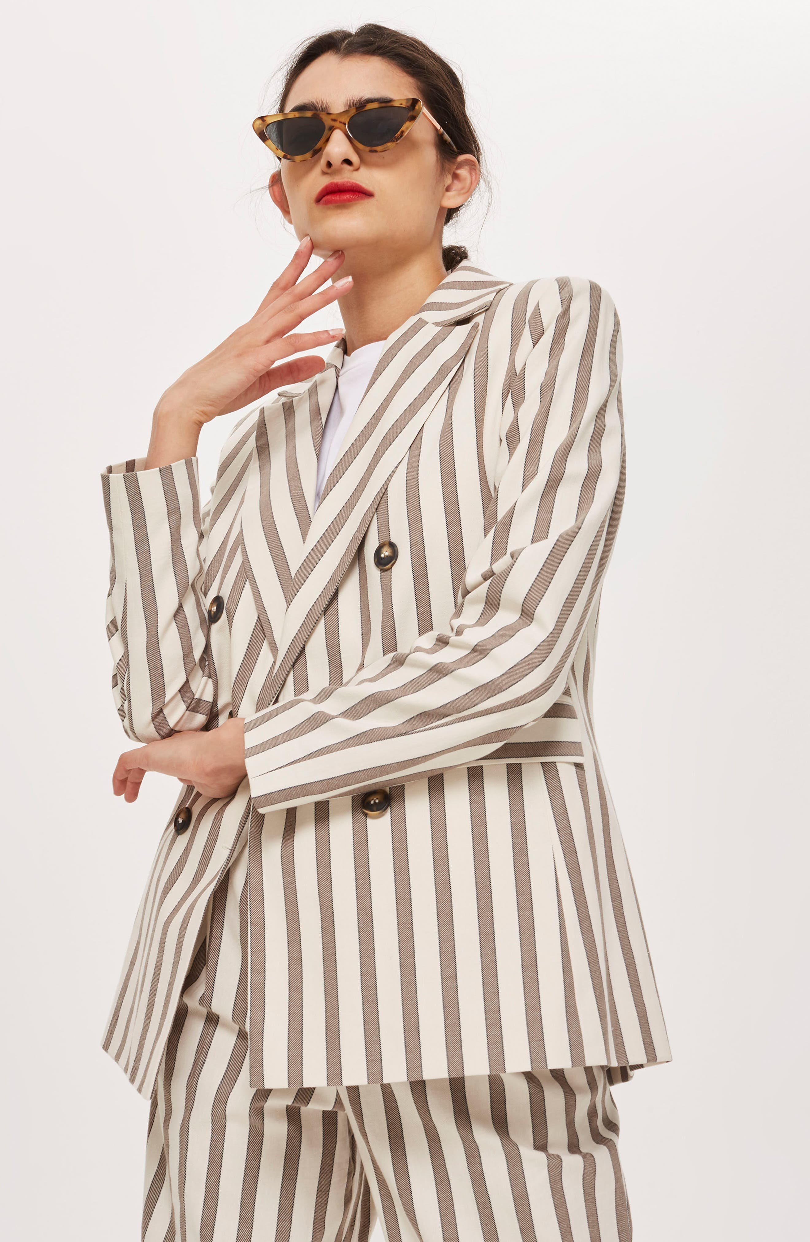 Taupe Stripe Double Breasted Blazer,                             Alternate thumbnail 4, color,                             900