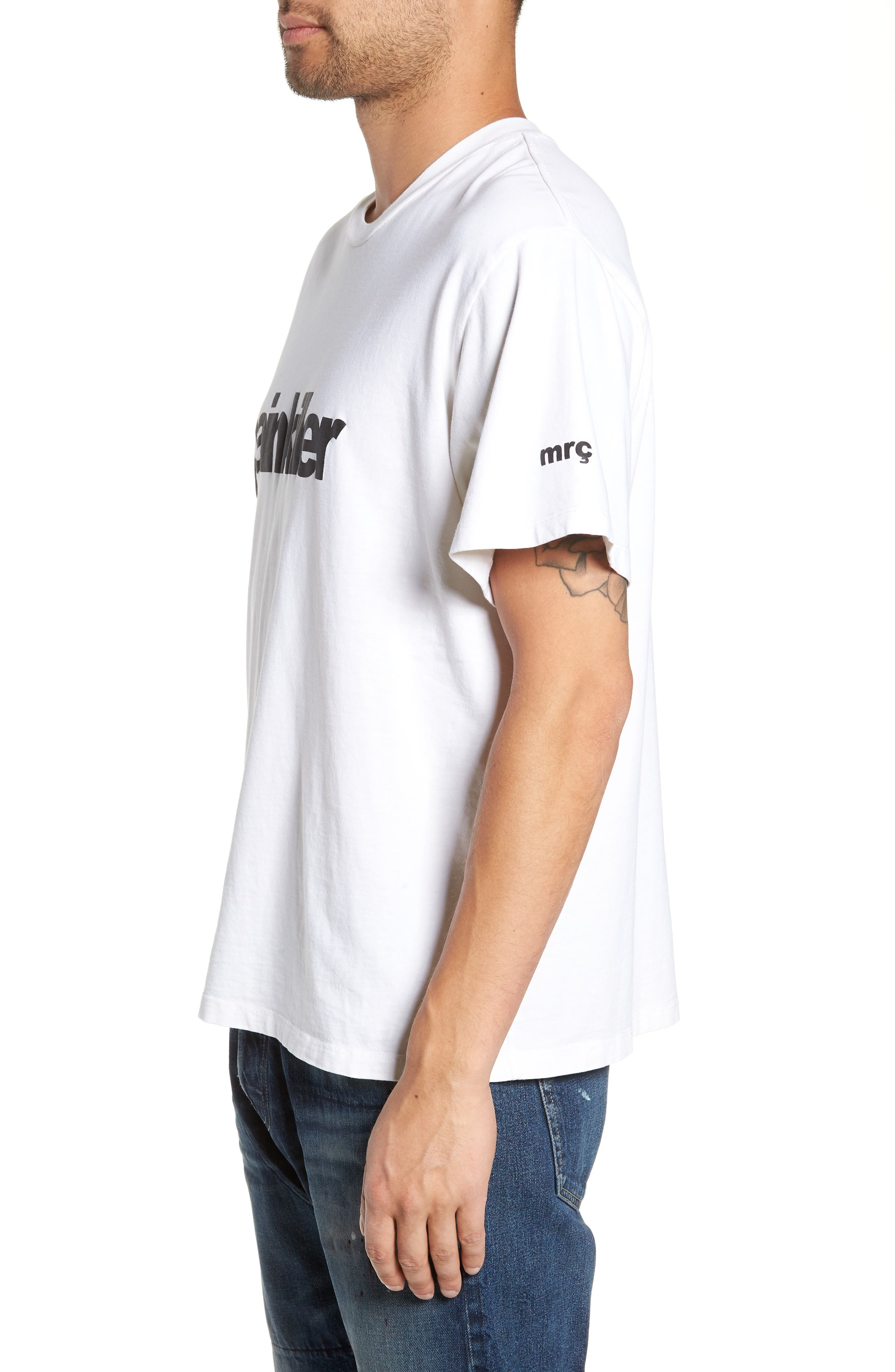 Painkiller Oversize Graphic T-Shirt,                             Alternate thumbnail 3, color,                             WHITE