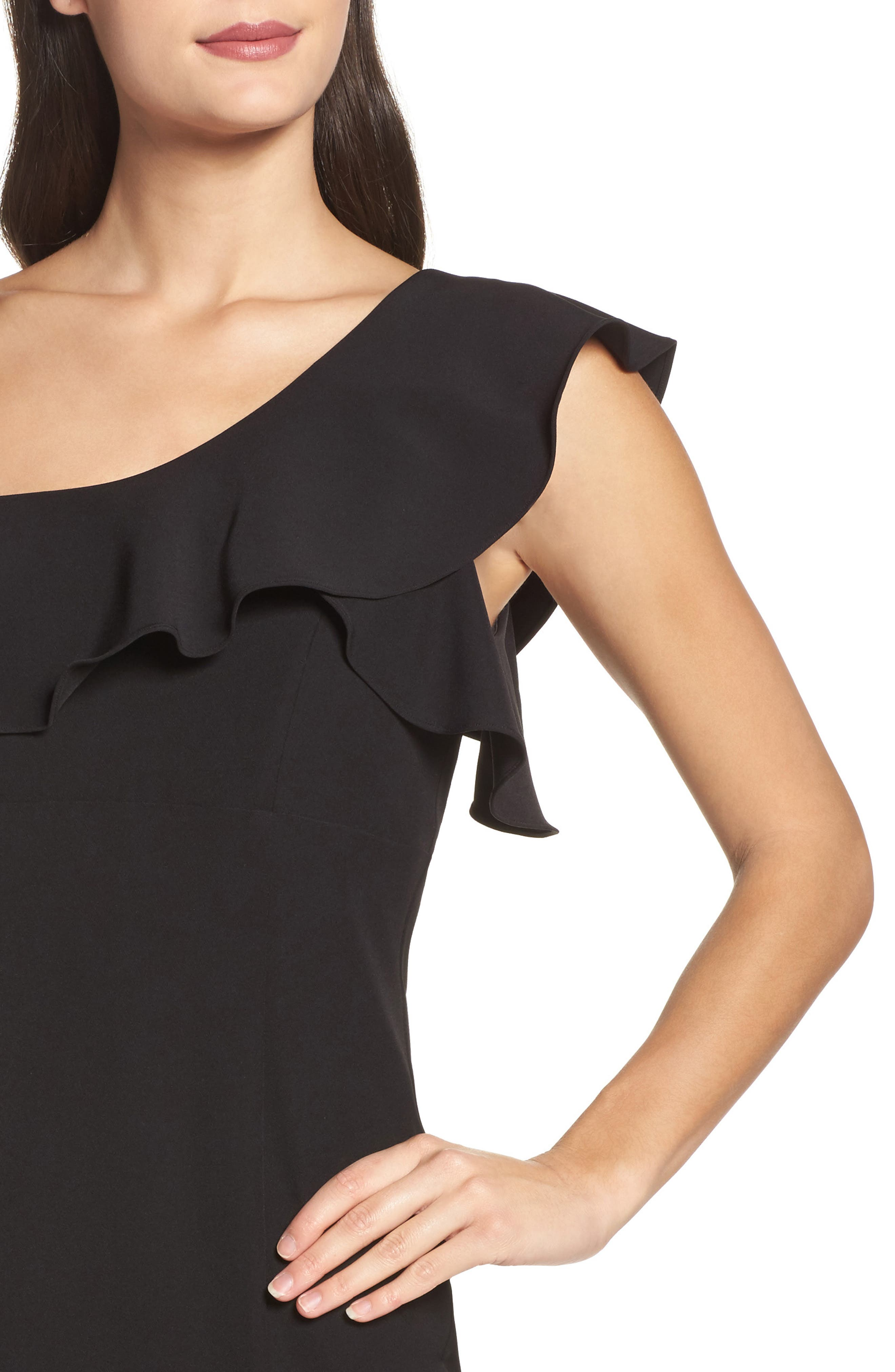 One-Shoulder Ruffle Sheath Dress,                             Alternate thumbnail 7, color,