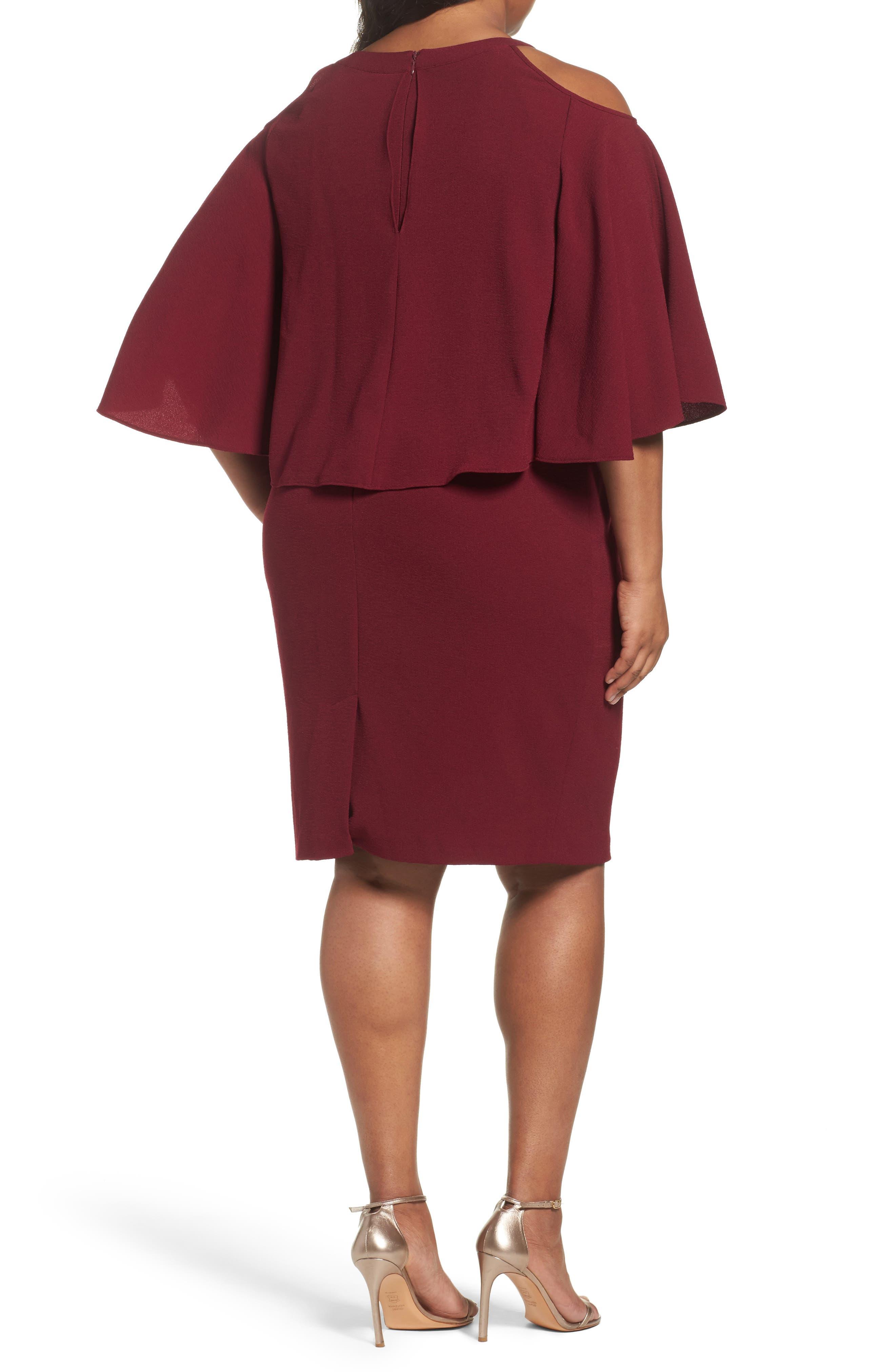 Cold Shoulder Crepe Sheath Dress,                             Alternate thumbnail 4, color,