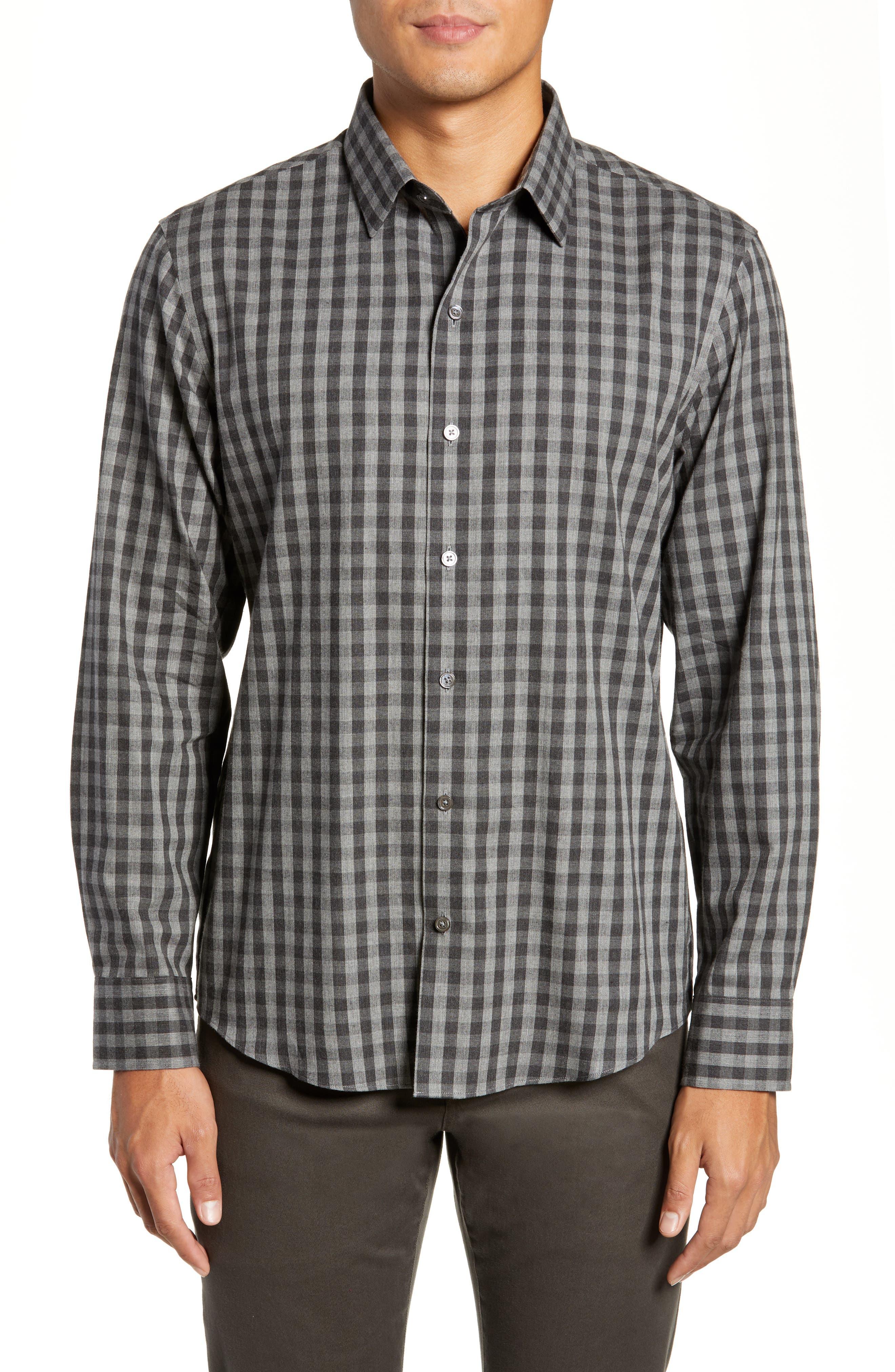 Lieberman Regular Fit Check Sport Shirt,                         Main,                         color, CHARCOAL