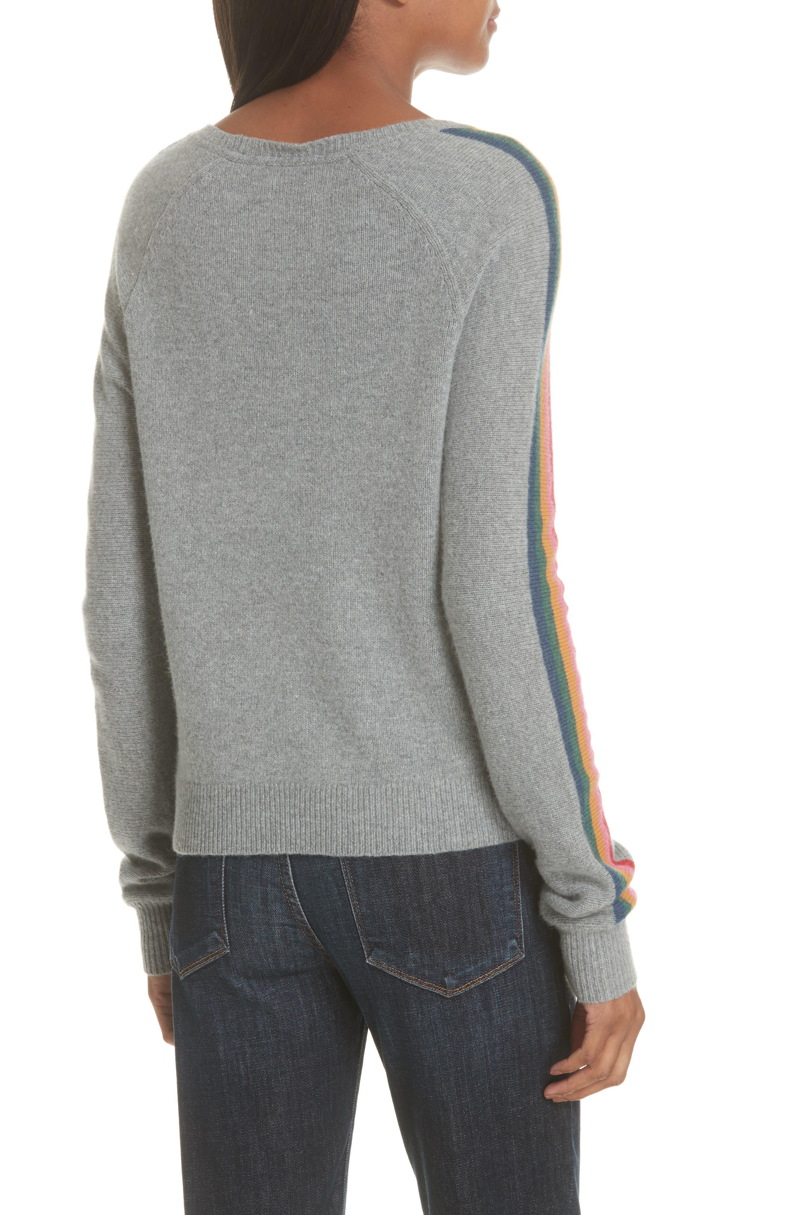 Rainbow Stripe Merino Wool Blend Sweater,                             Alternate thumbnail 2, color,                             MEDIUM GREY MELANGE